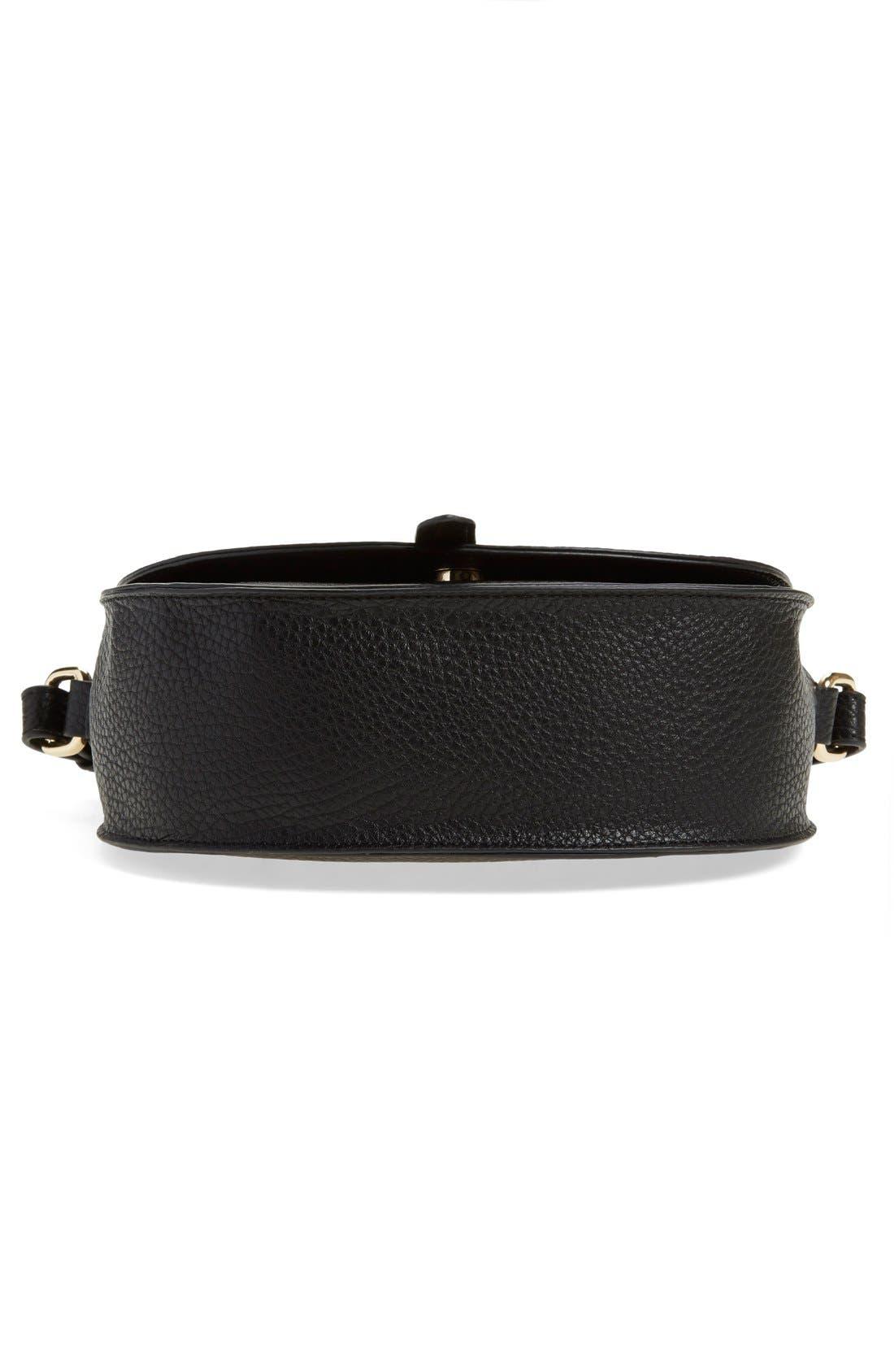Faux Leather Saddle Crossbody Bag,                             Alternate thumbnail 5, color,                             001