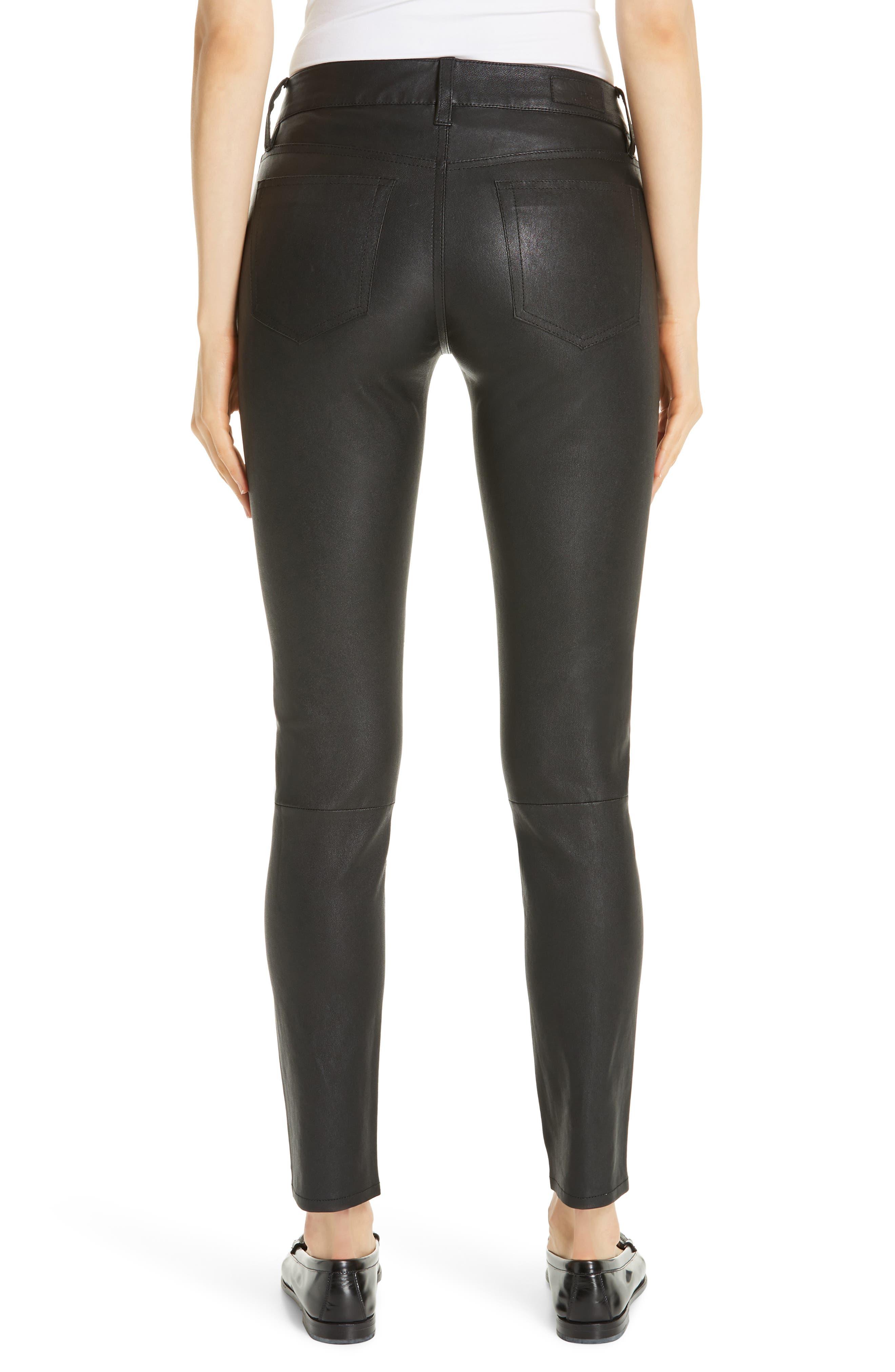 Five Pocket Leather Skinny Pants,                             Alternate thumbnail 2, color,                             POLO BLACK