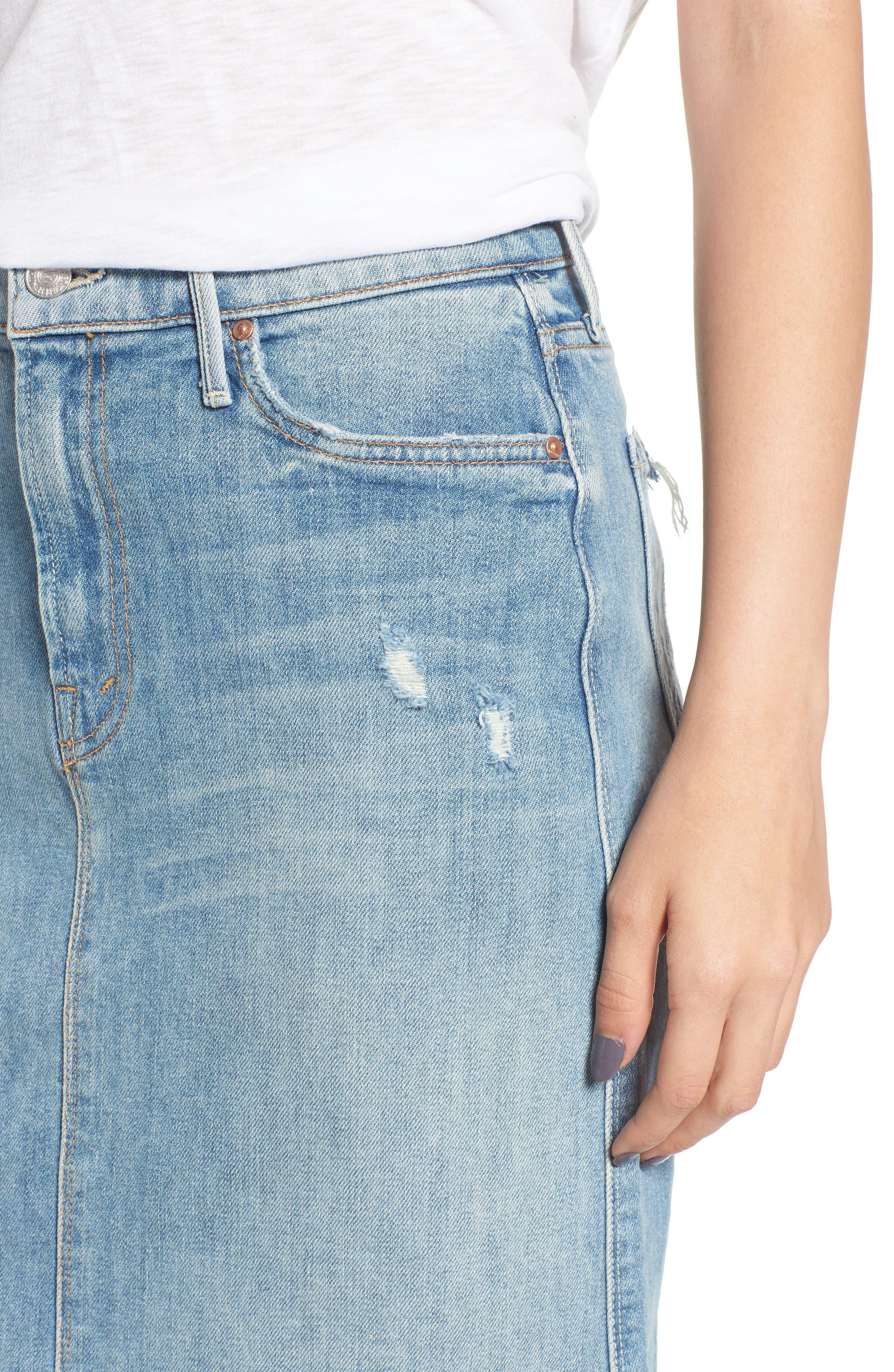 Swooner Straight-A Chewed Hem Denim Skirt,                             Alternate thumbnail 4, color,                             450