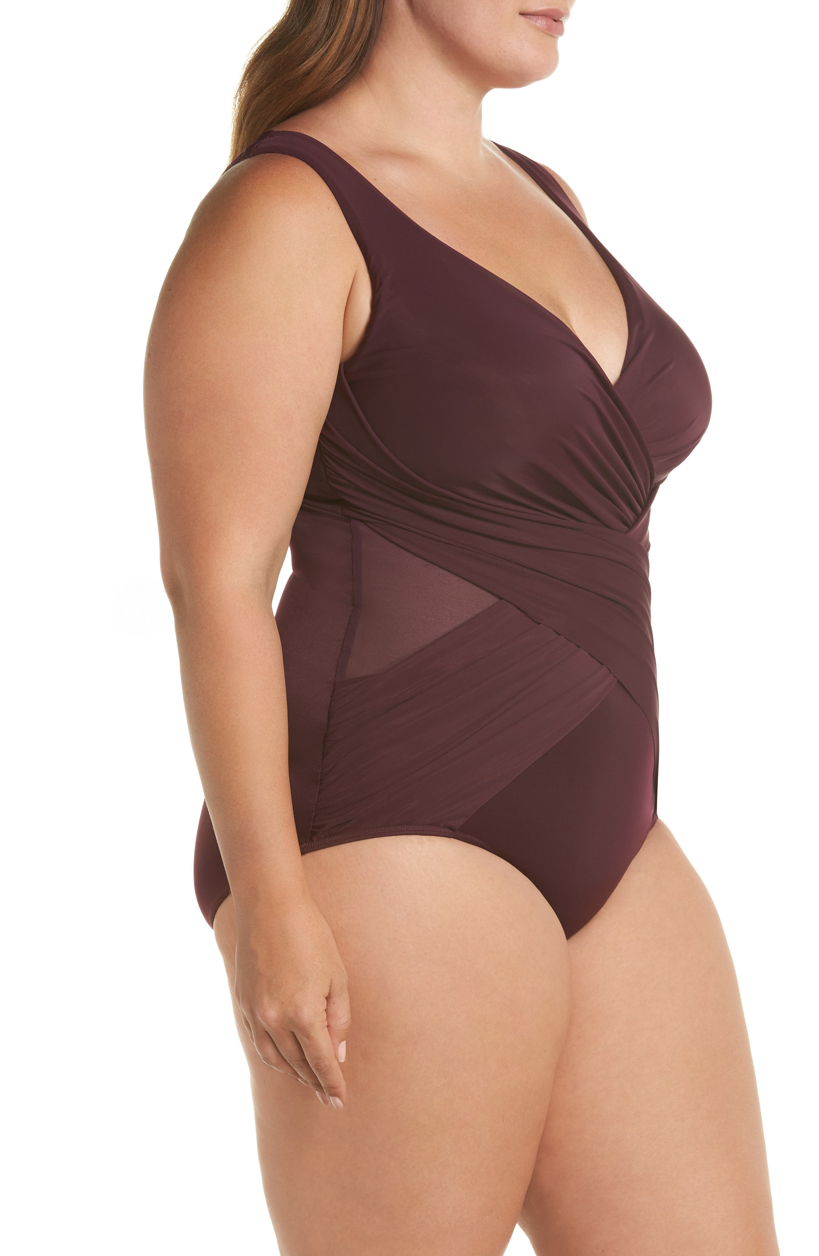 Illusionist Crossover One-Piece Swimsuit,                             Alternate thumbnail 3, color,                             SHIRAZ