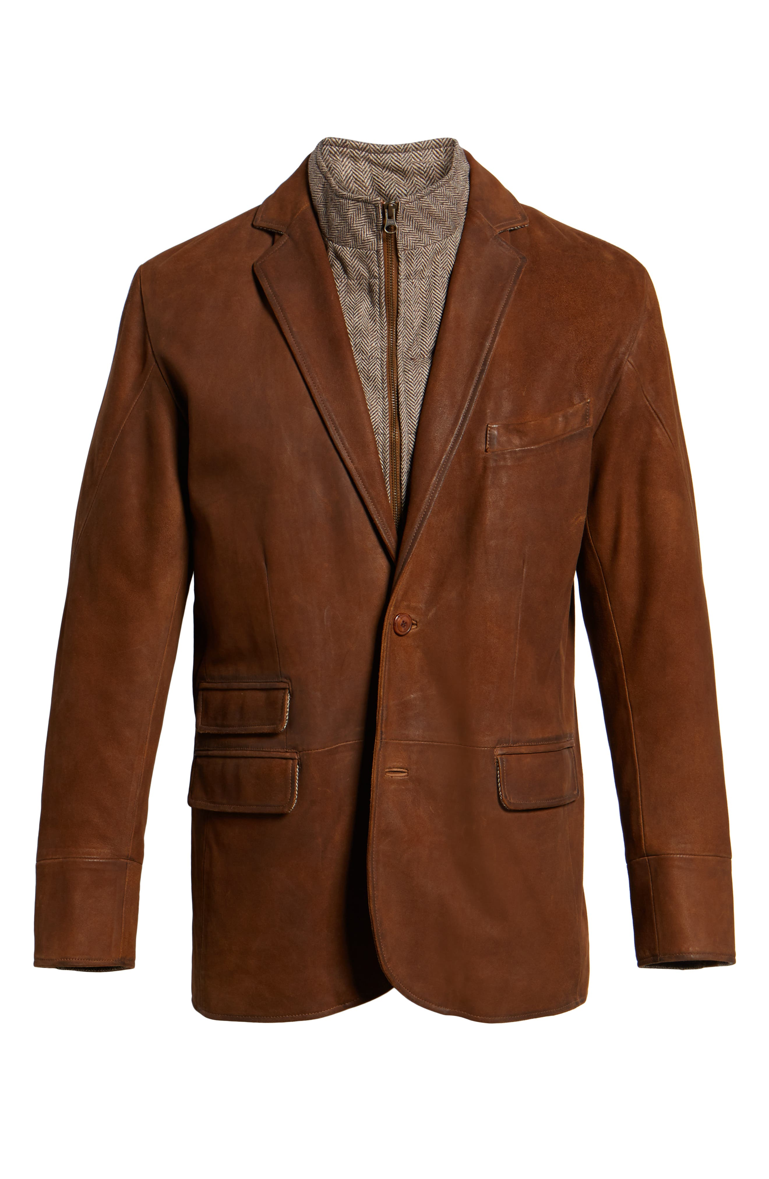 Classic Fit Distressed Leather Hybrid Coat,                             Alternate thumbnail 6, color,                             BROWN