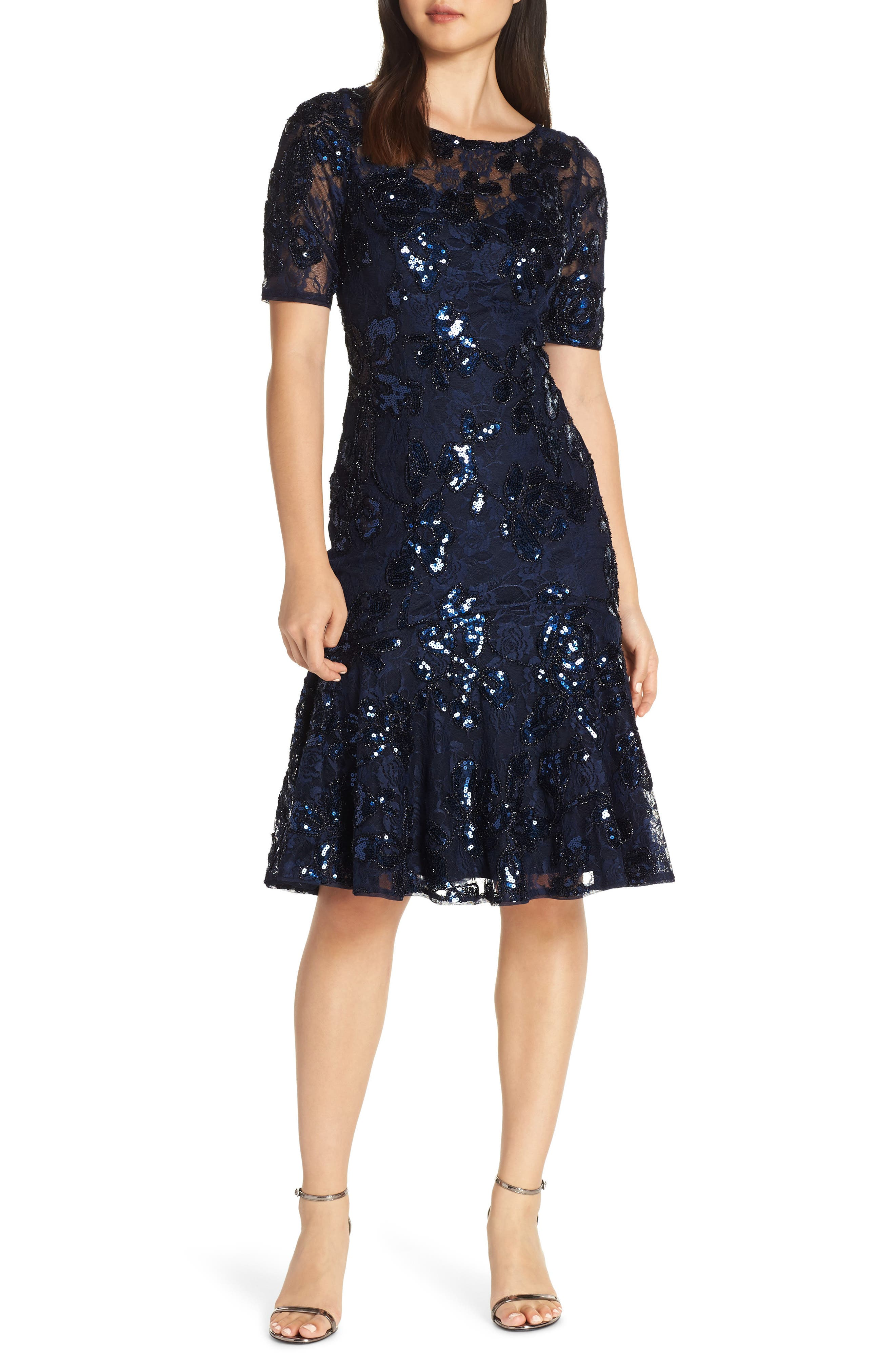 ADRIANNA PAPELL,                             Sequin Embellished Dress,                             Main thumbnail 1, color,                             410