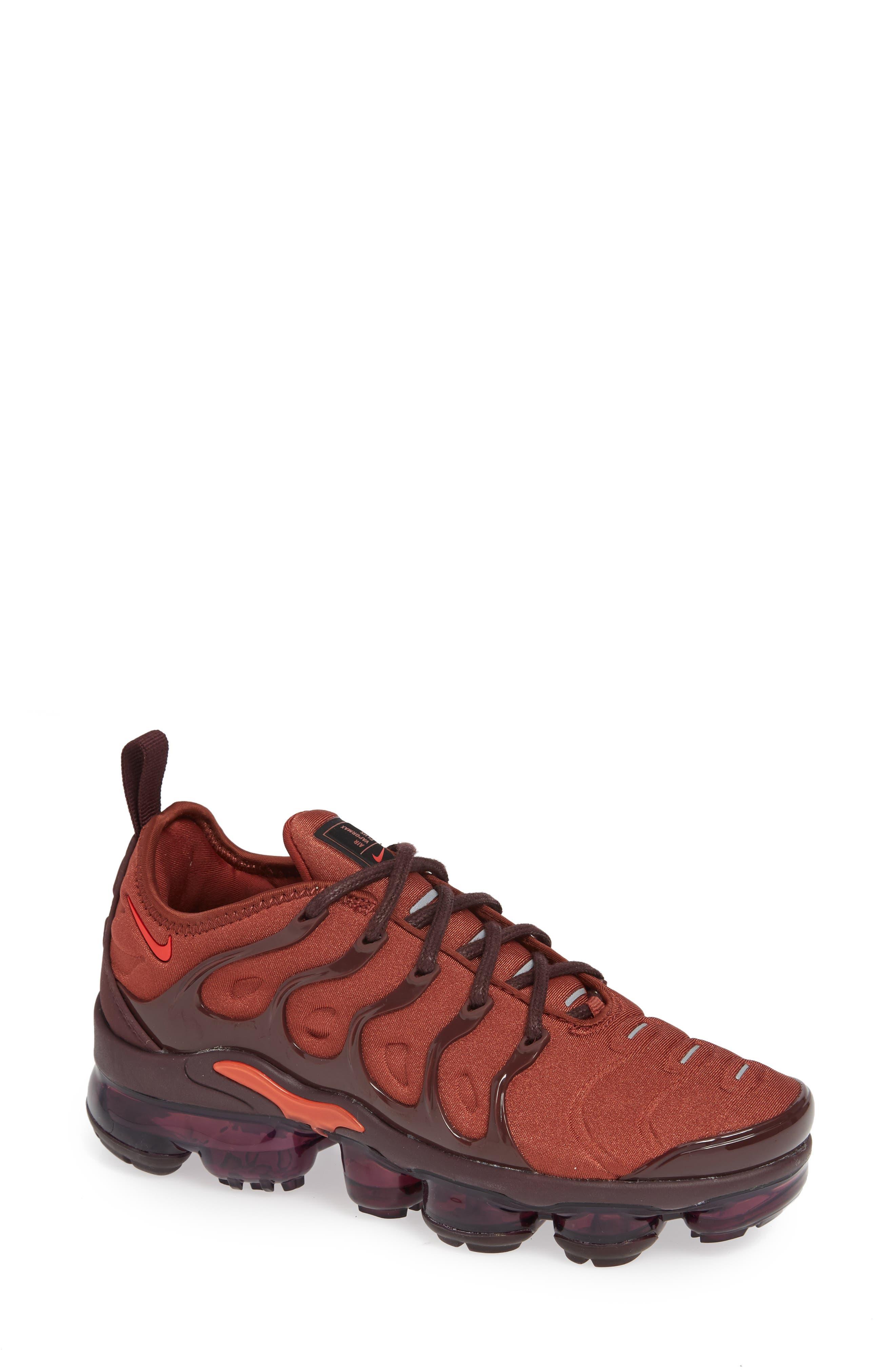 Air VaporMax Plus Sneaker,                             Main thumbnail 1, color,                             BURNT ORANGE/ RED-BURGUNDY