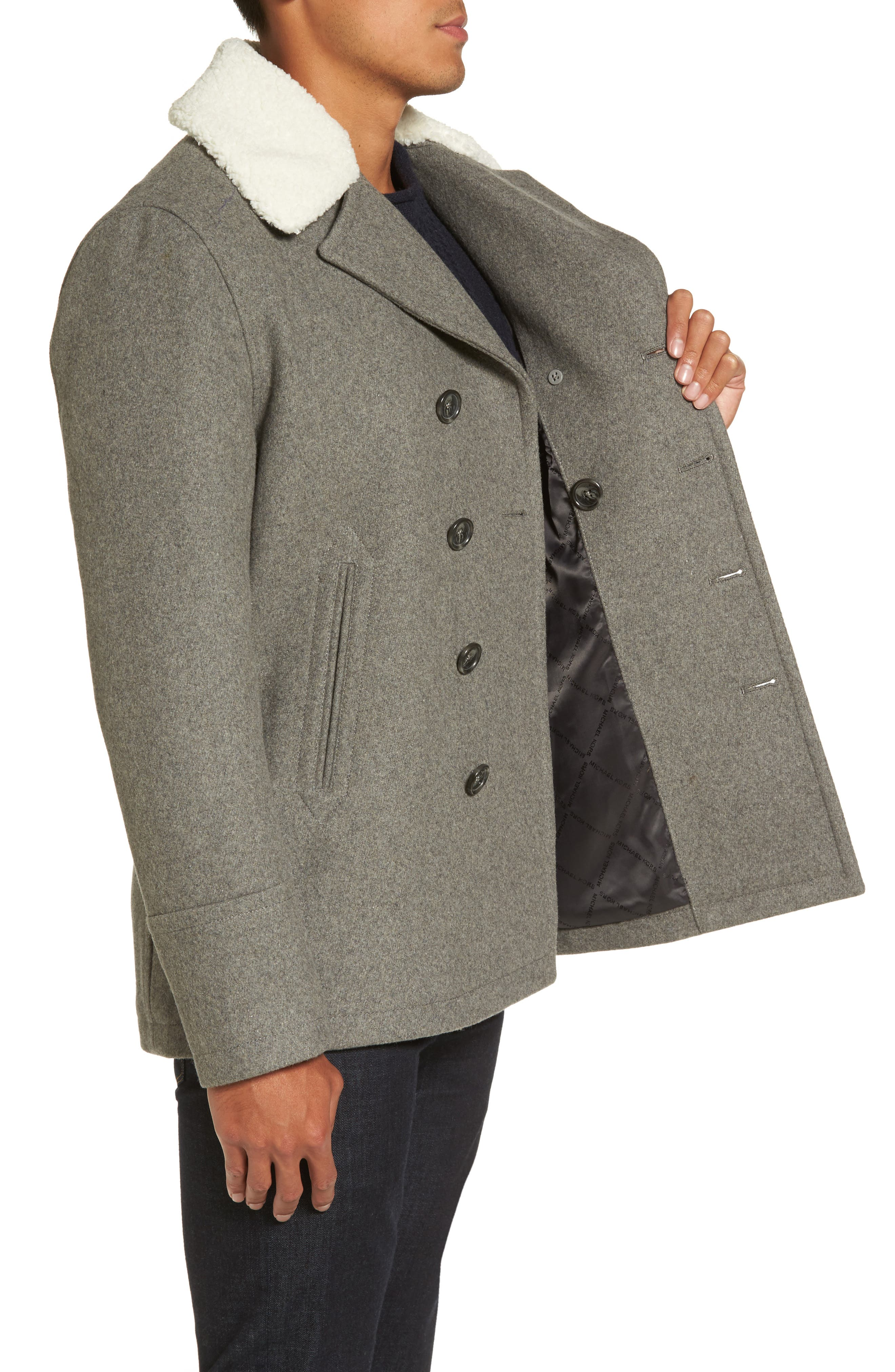 Peacoat with Faux Shearling Collar,                             Alternate thumbnail 3, color,                             038
