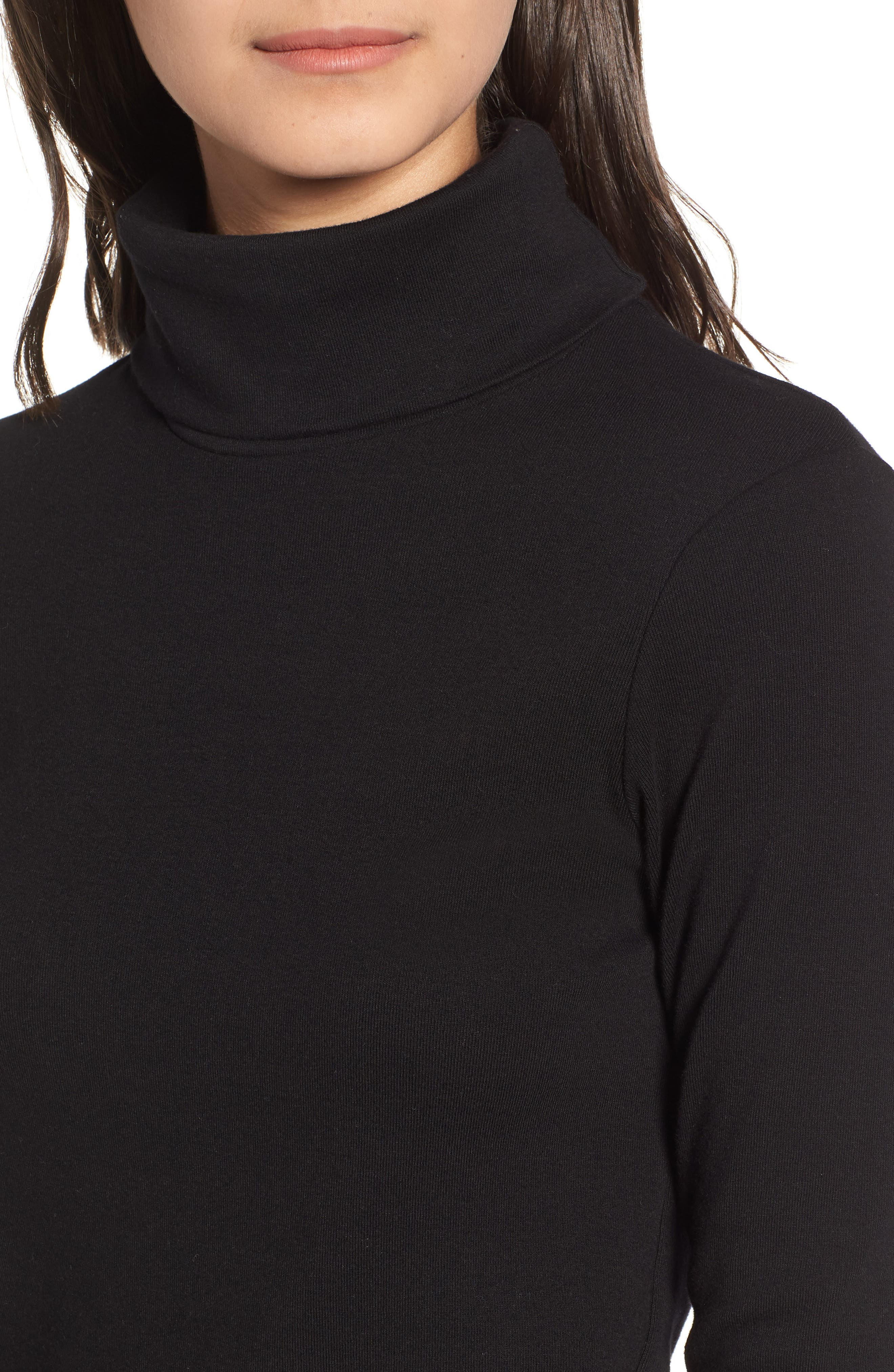 Turtleneck Stretch Cotton Crop Top,                             Alternate thumbnail 4, color,                             001