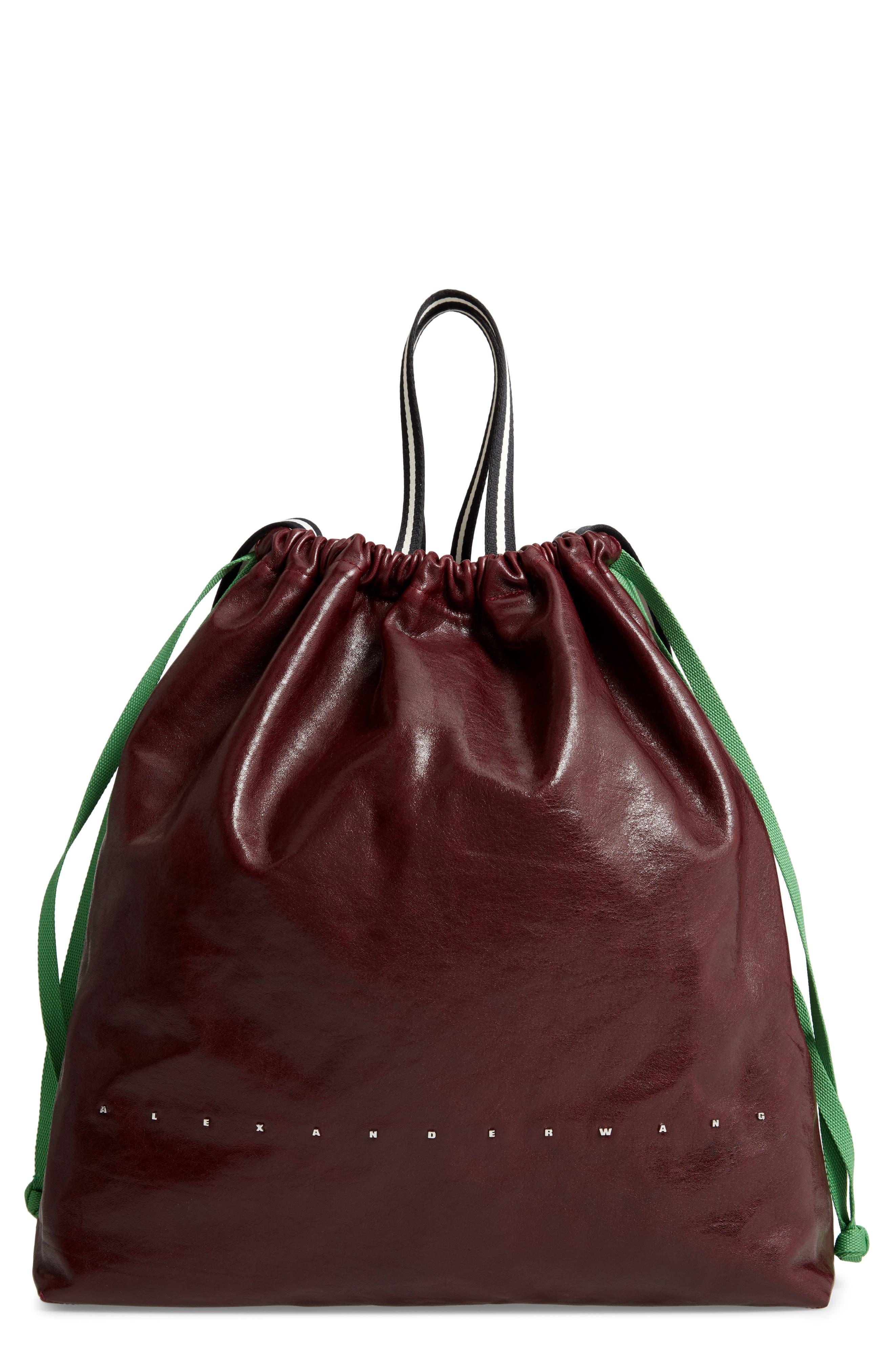 Wefty Drawstring Bucket Bag,                             Main thumbnail 1, color,                             OXBLOOD