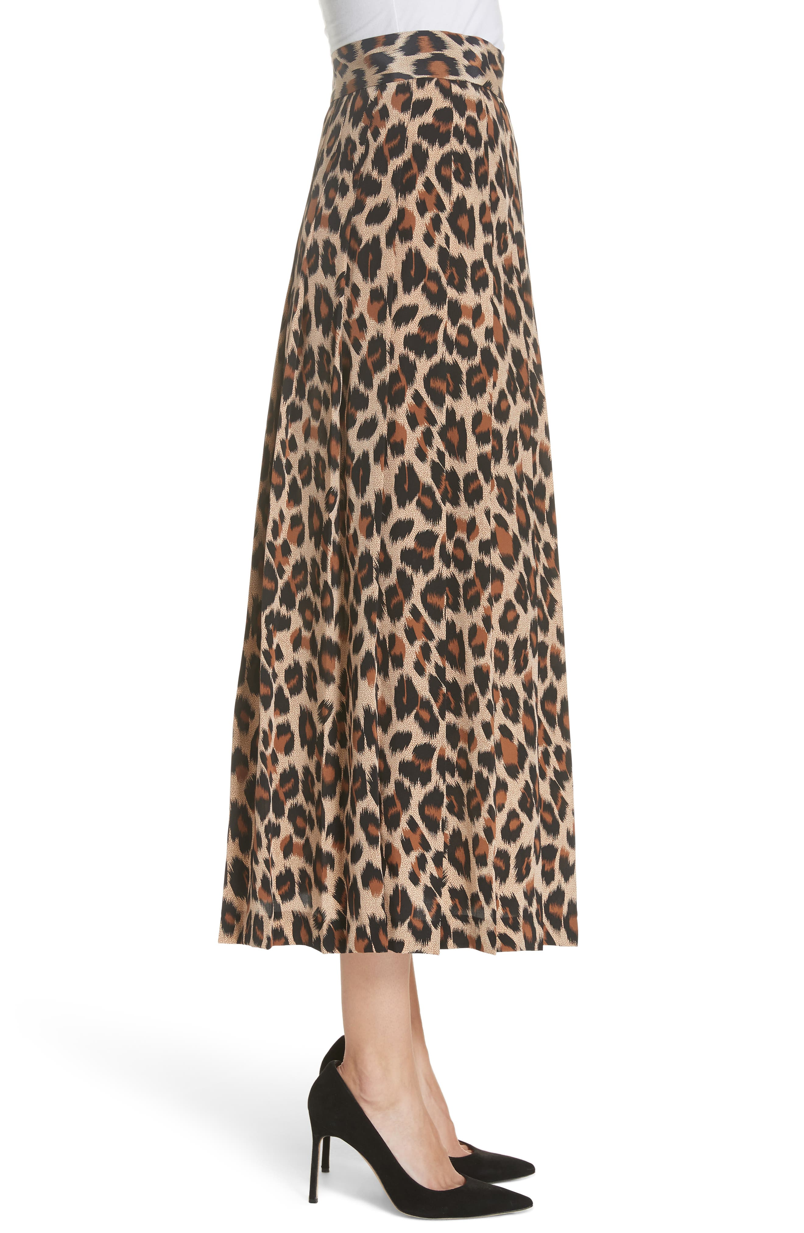 Leopard Print Pleated Silk Skirt,                             Alternate thumbnail 3, color,                             LEOPARD
