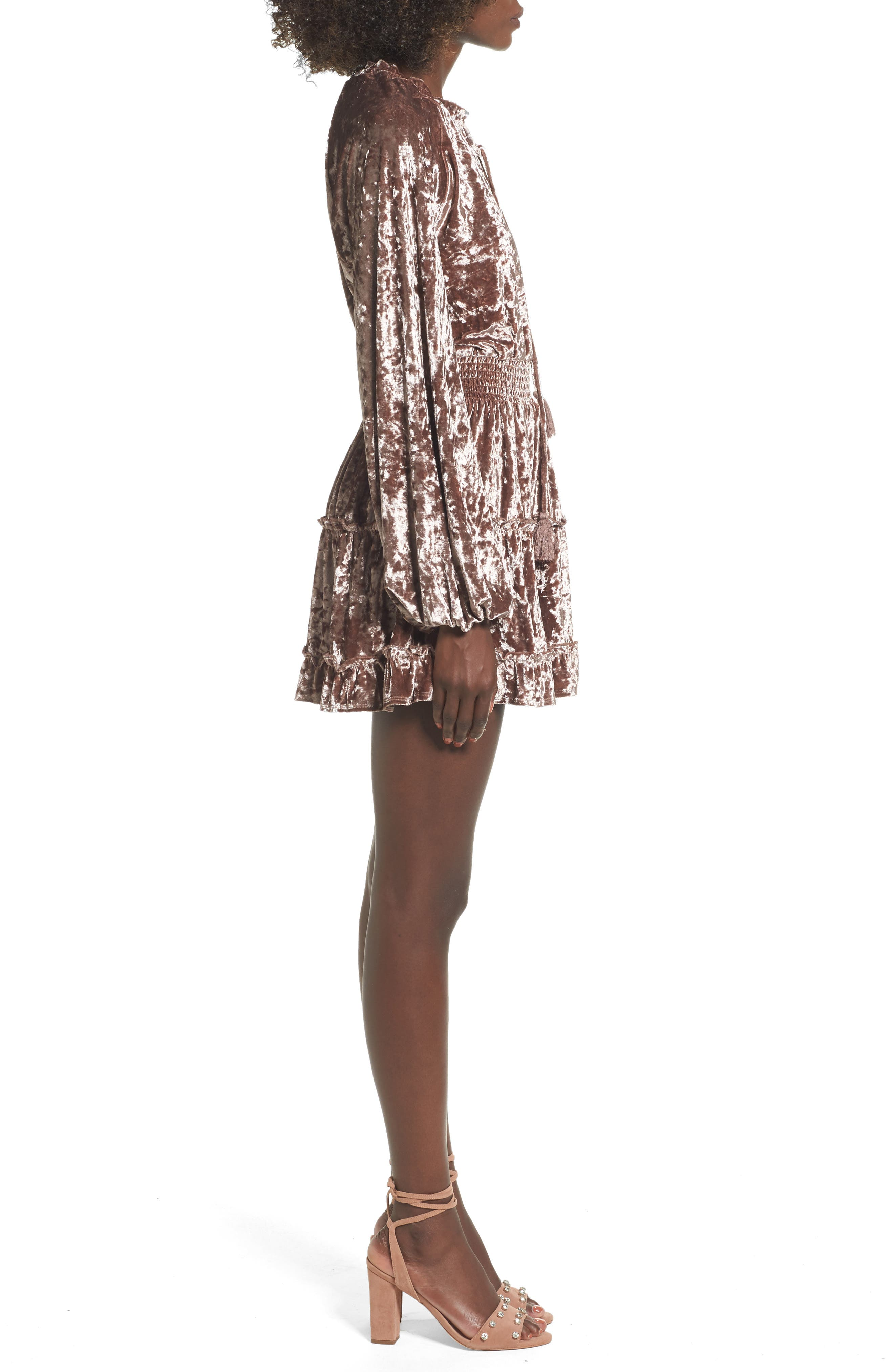 Delaney Crushed Velvet Minidress,                             Alternate thumbnail 3, color,