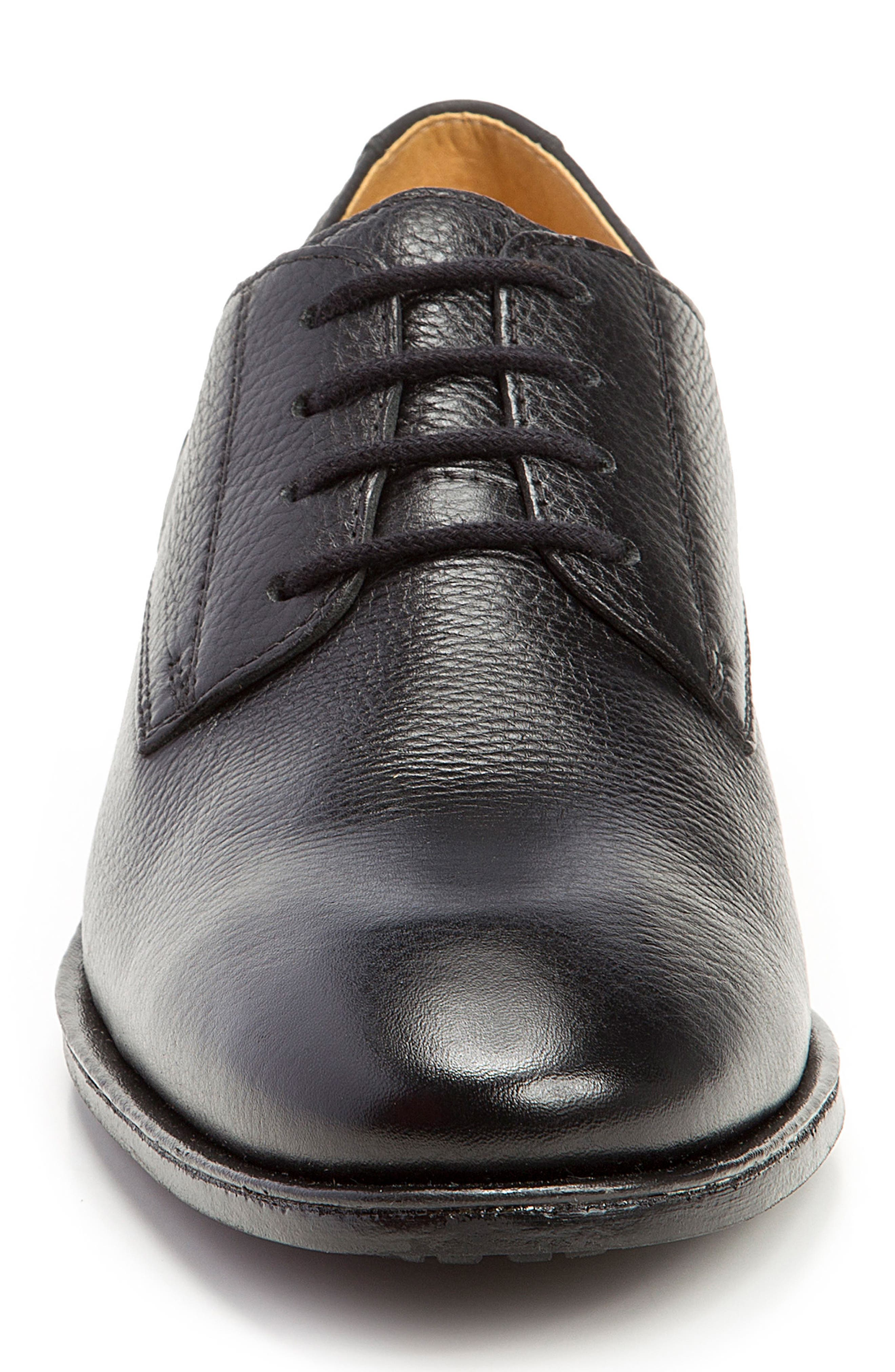 Wallace Plain Toe Derby,                             Alternate thumbnail 4, color,                             BLACK