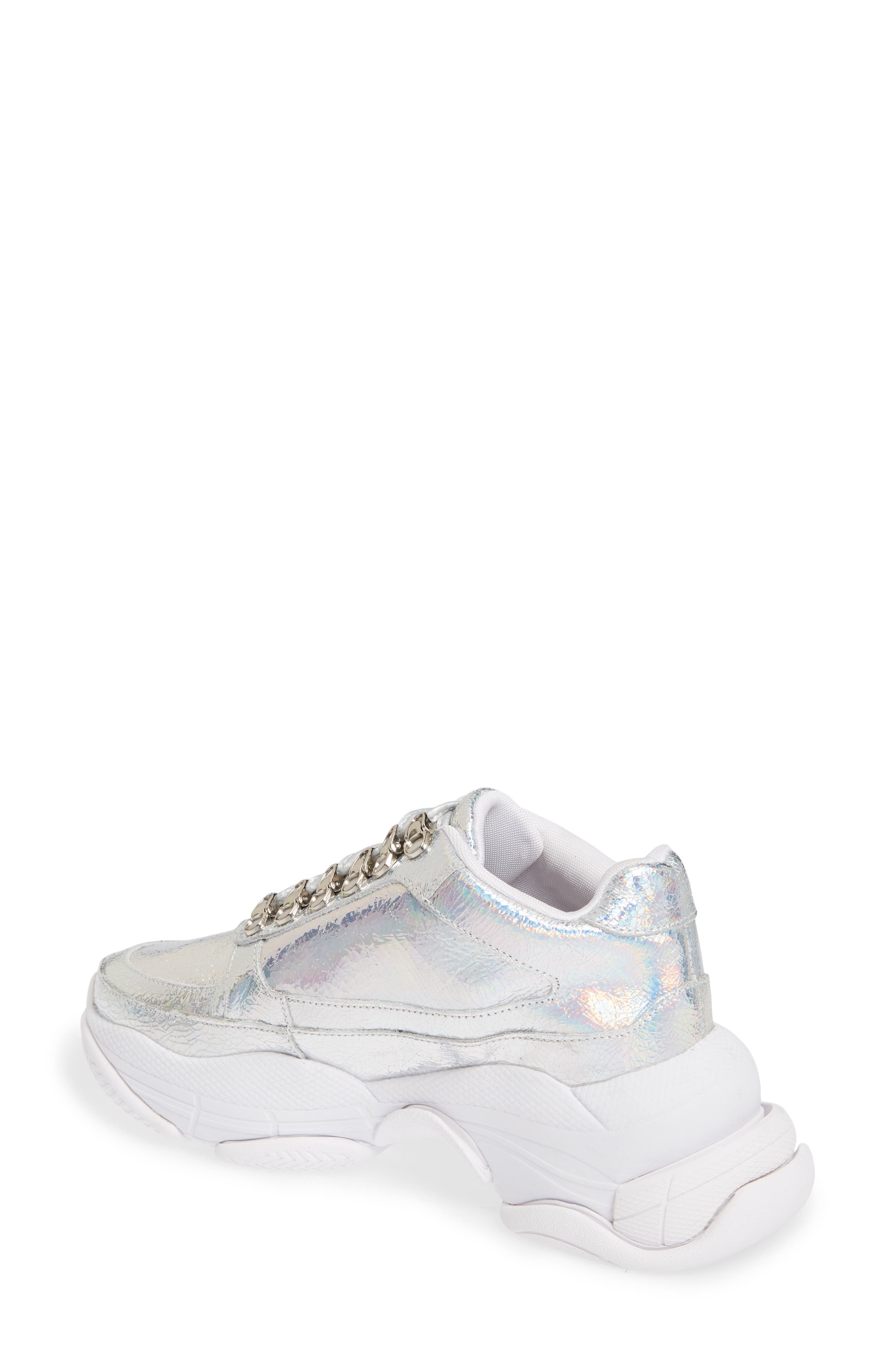 Hotspot Lace-Up Sneaker,                             Alternate thumbnail 2, color,                             SILVER CRINKLE