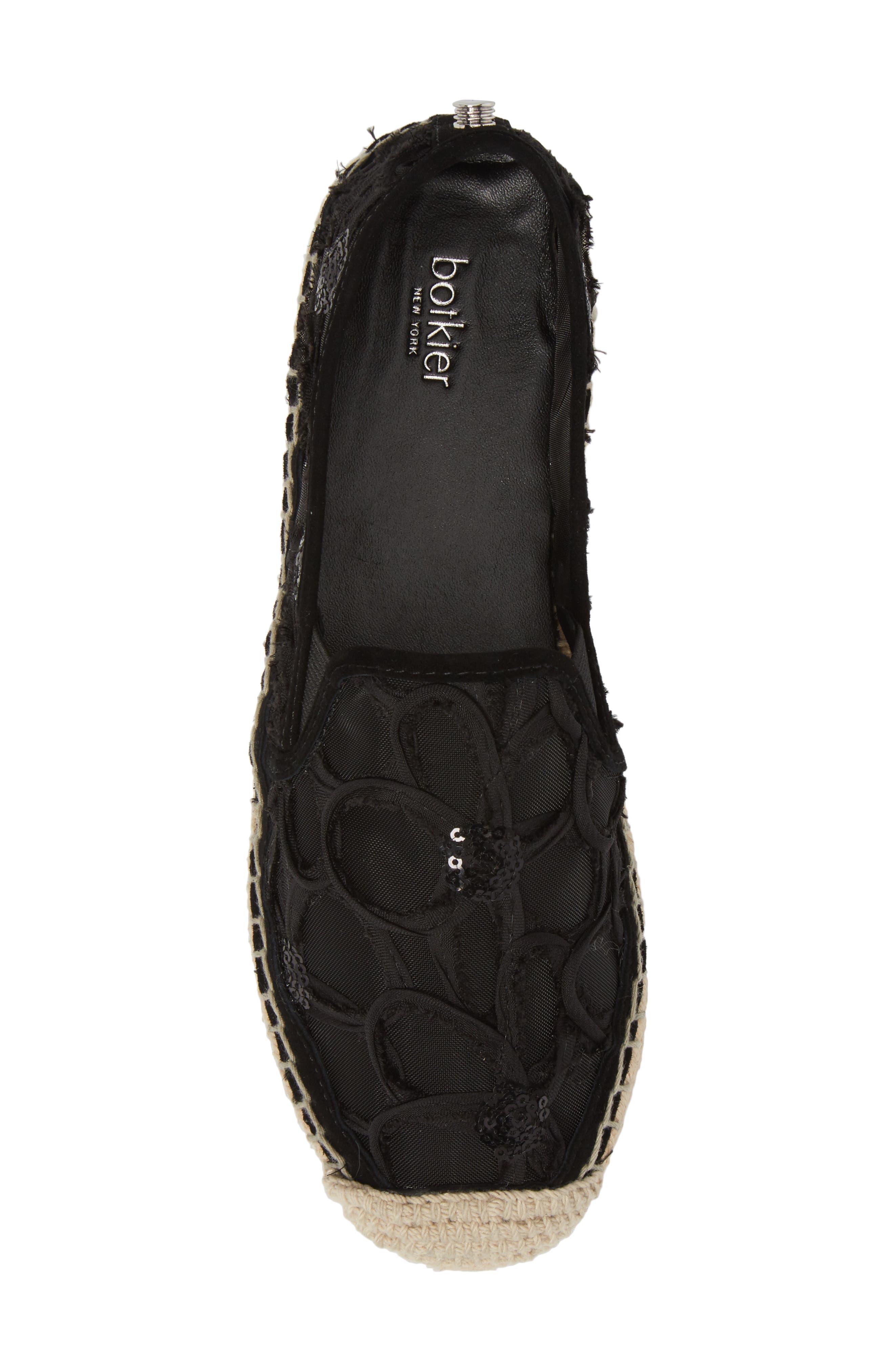 Sara Espadrille Platform Loafer,                             Alternate thumbnail 5, color,                             BLACK MESH FABRIC