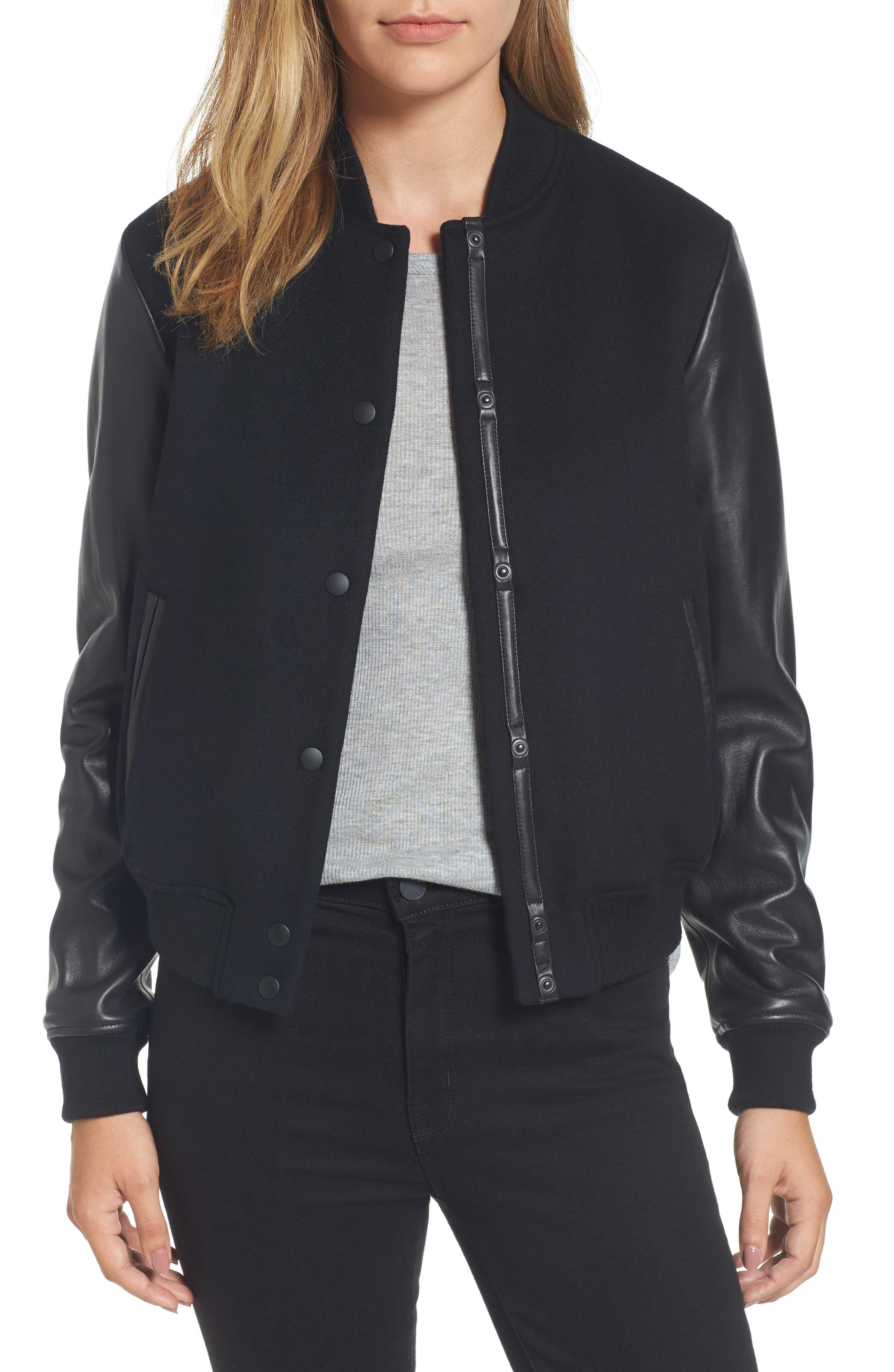 Leather Sleeve Varsity Jacket,                         Main,                         color, 001