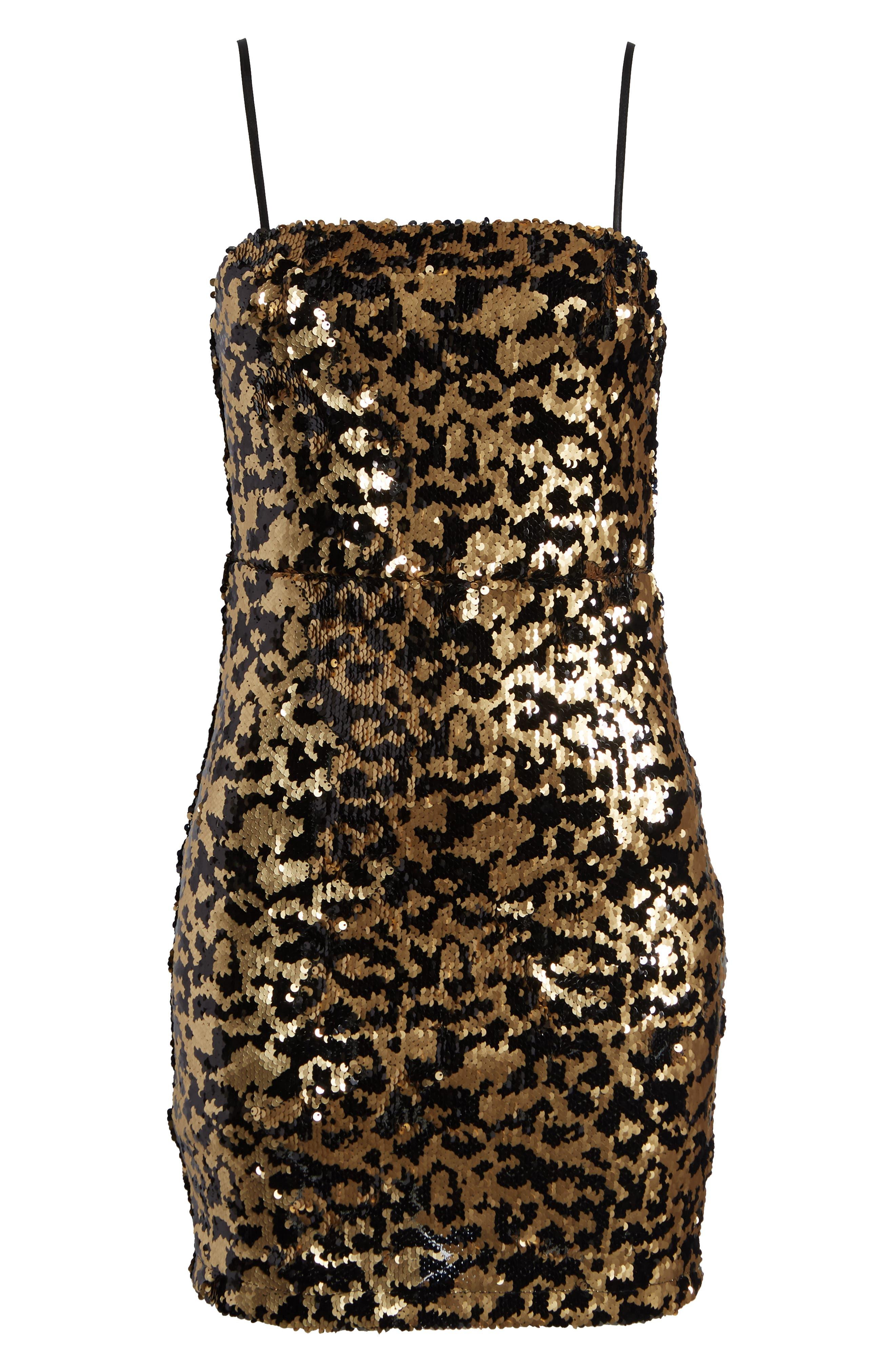 Leopard Sequin Dress,                             Alternate thumbnail 7, color,                             BLACK MULTI
