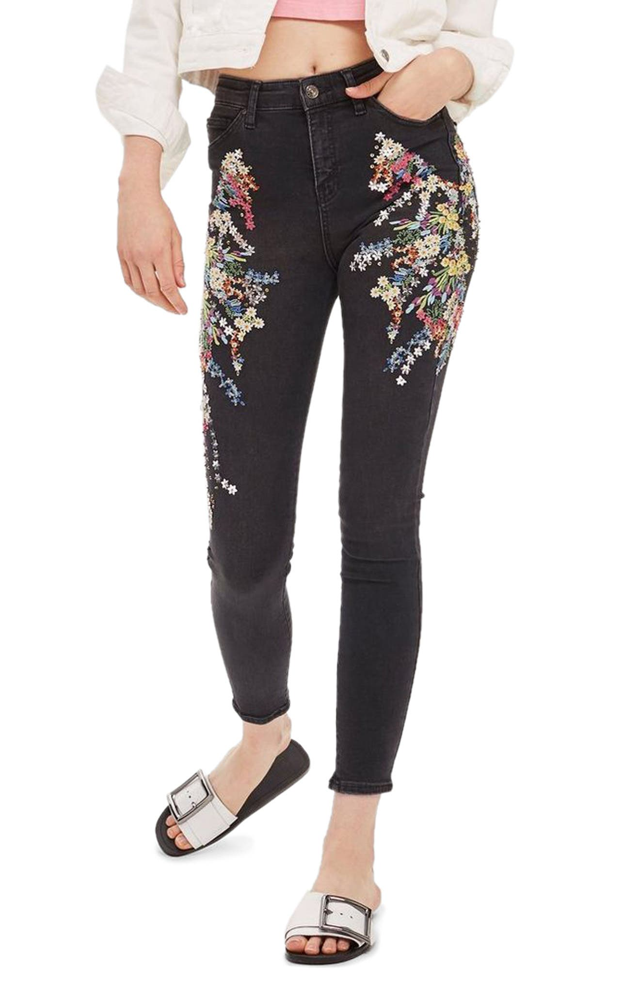MOTO Jamie Ditzy Embellished Jeans,                             Main thumbnail 1, color,