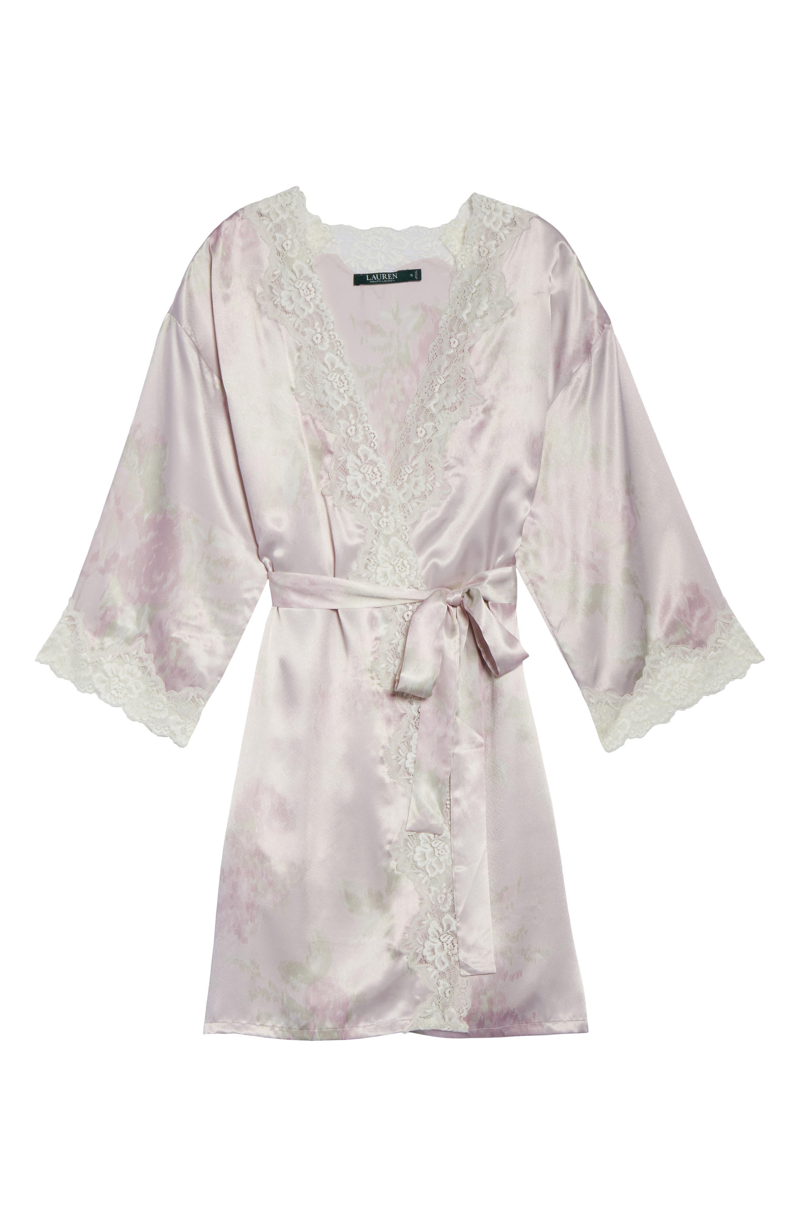 Lace & Satin Robe,                             Alternate thumbnail 6, color,                             654