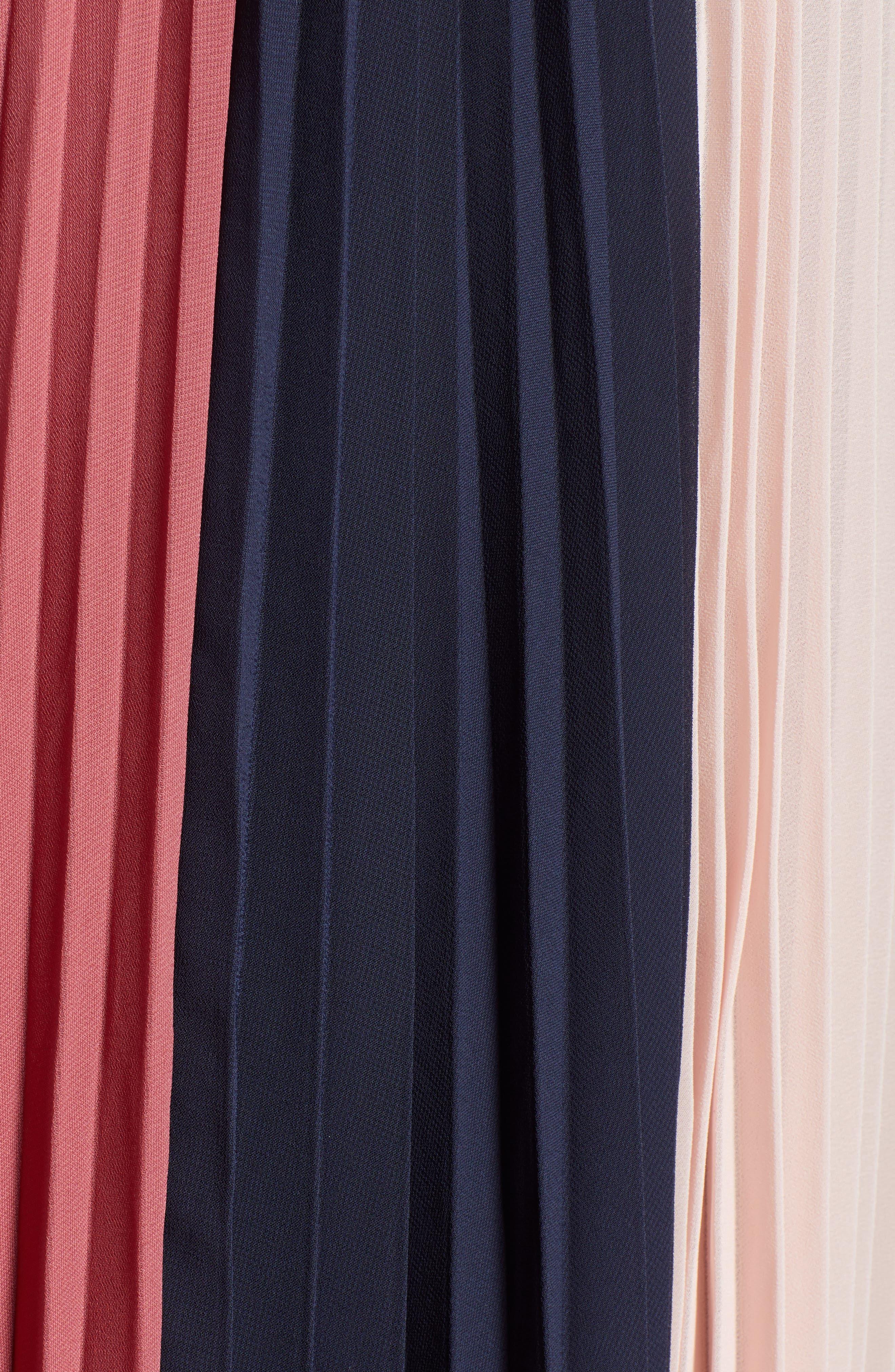 x Atlantic-Pacific Colorblock Pleated Midi Skirt,                             Alternate thumbnail 6, color,                             PINK- NAVY COLORBLOCK