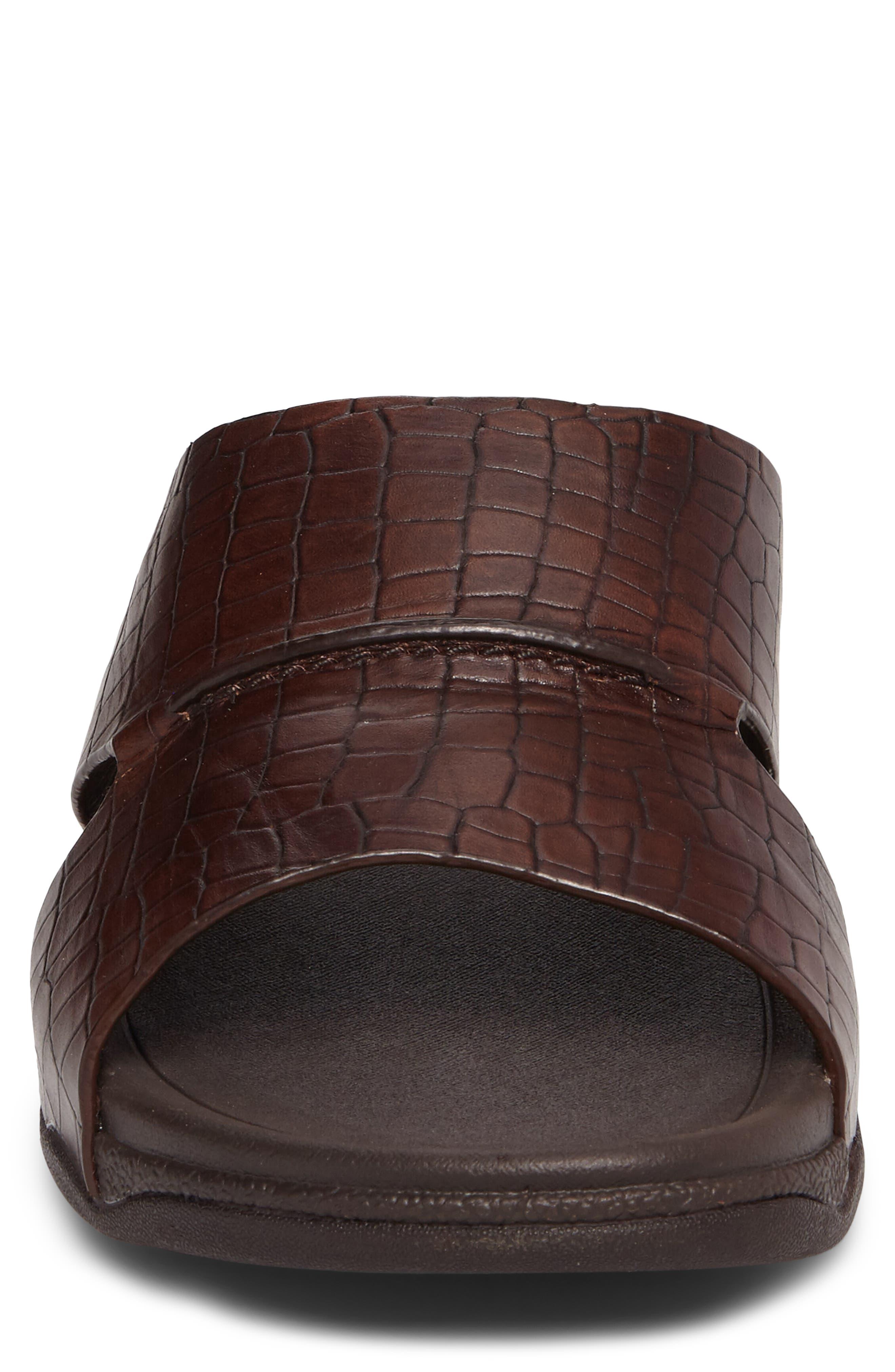 Bando Slide Sandal,                             Alternate thumbnail 4, color,                             CHOCOLATE LEATHER