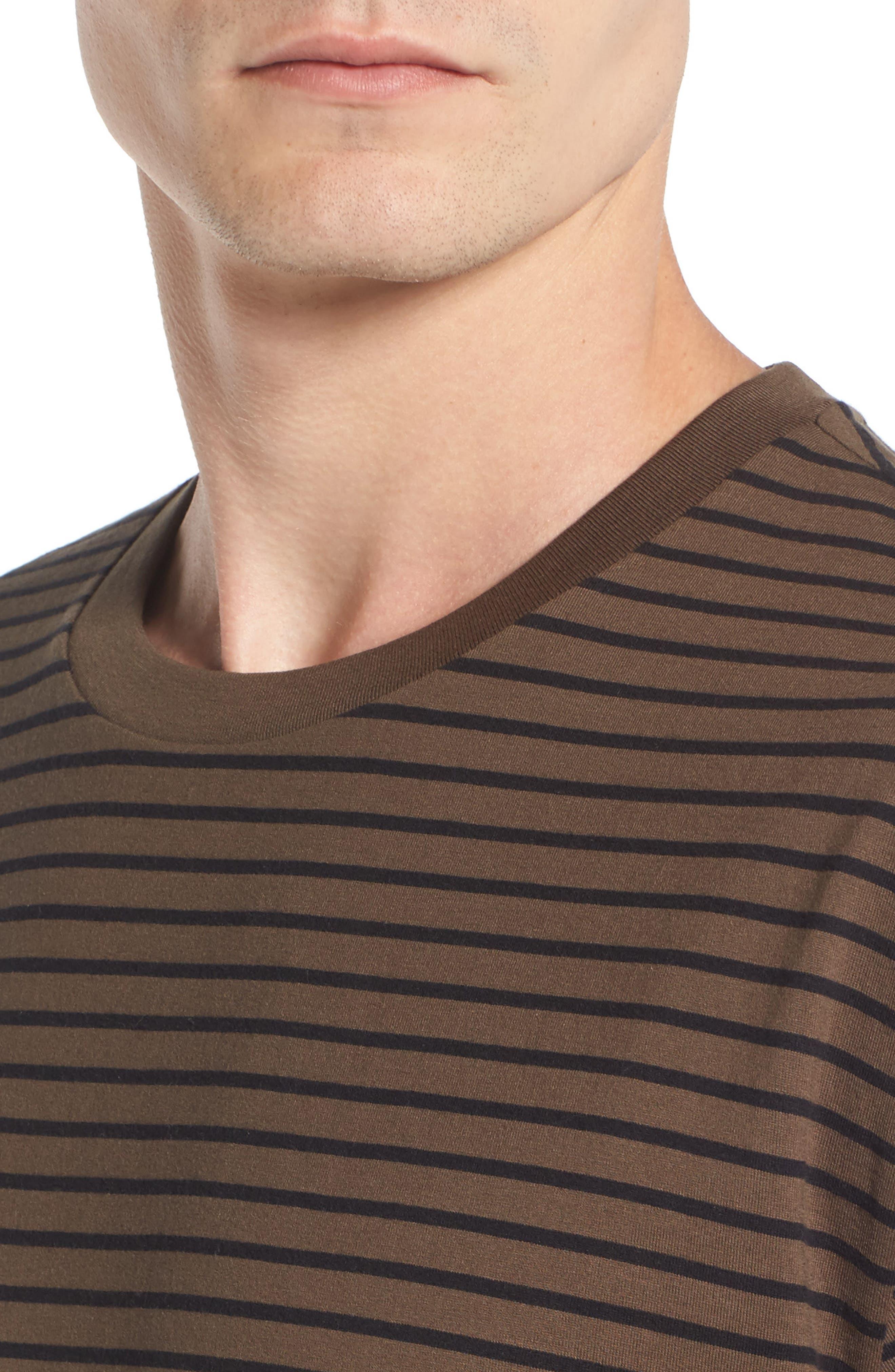 Narrow Stripe Pima Cotton T-Shirt,                             Alternate thumbnail 4, color,                             245