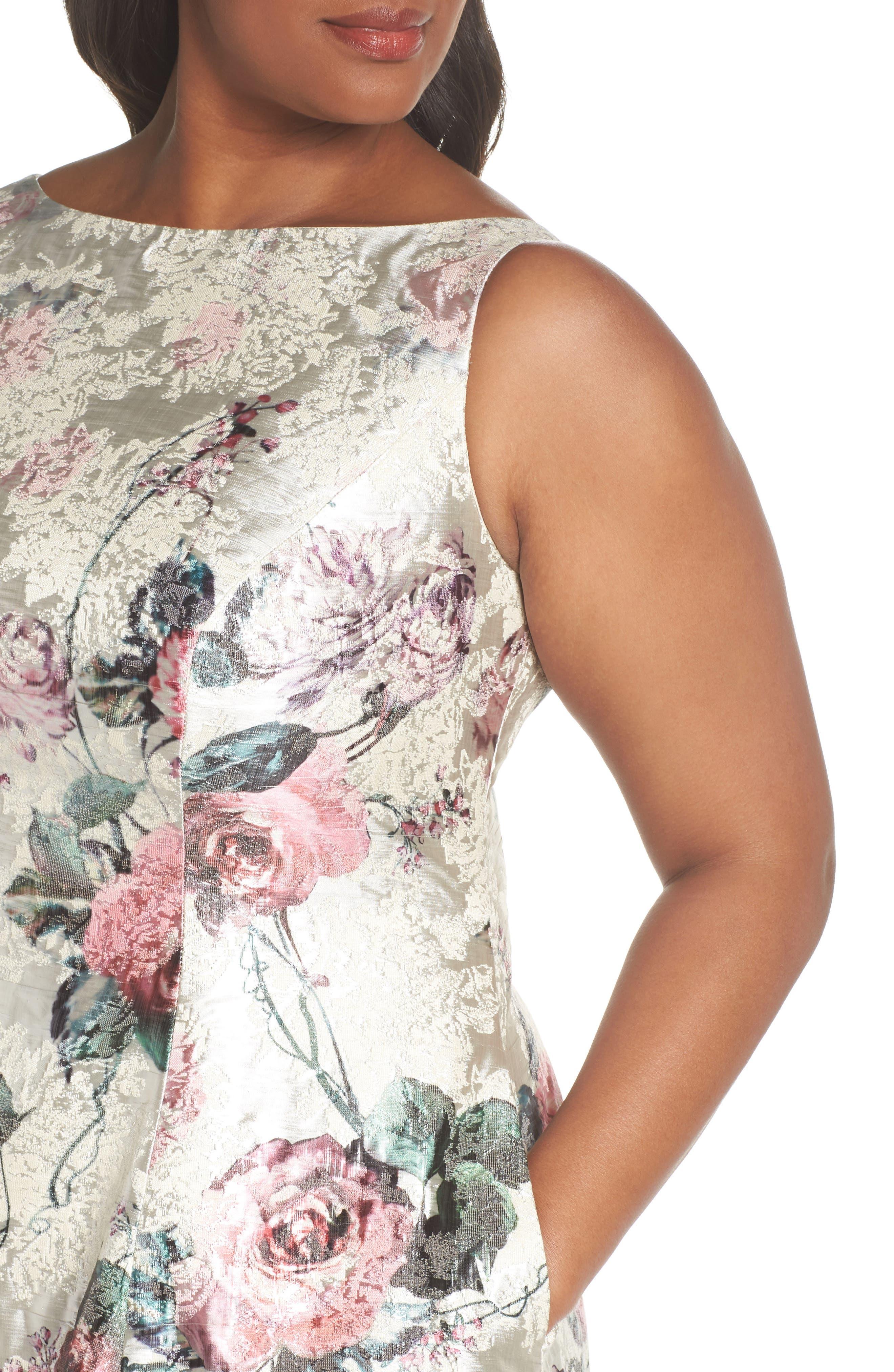 Print Jacquard Tea Length Dress,                             Alternate thumbnail 4, color,                             640