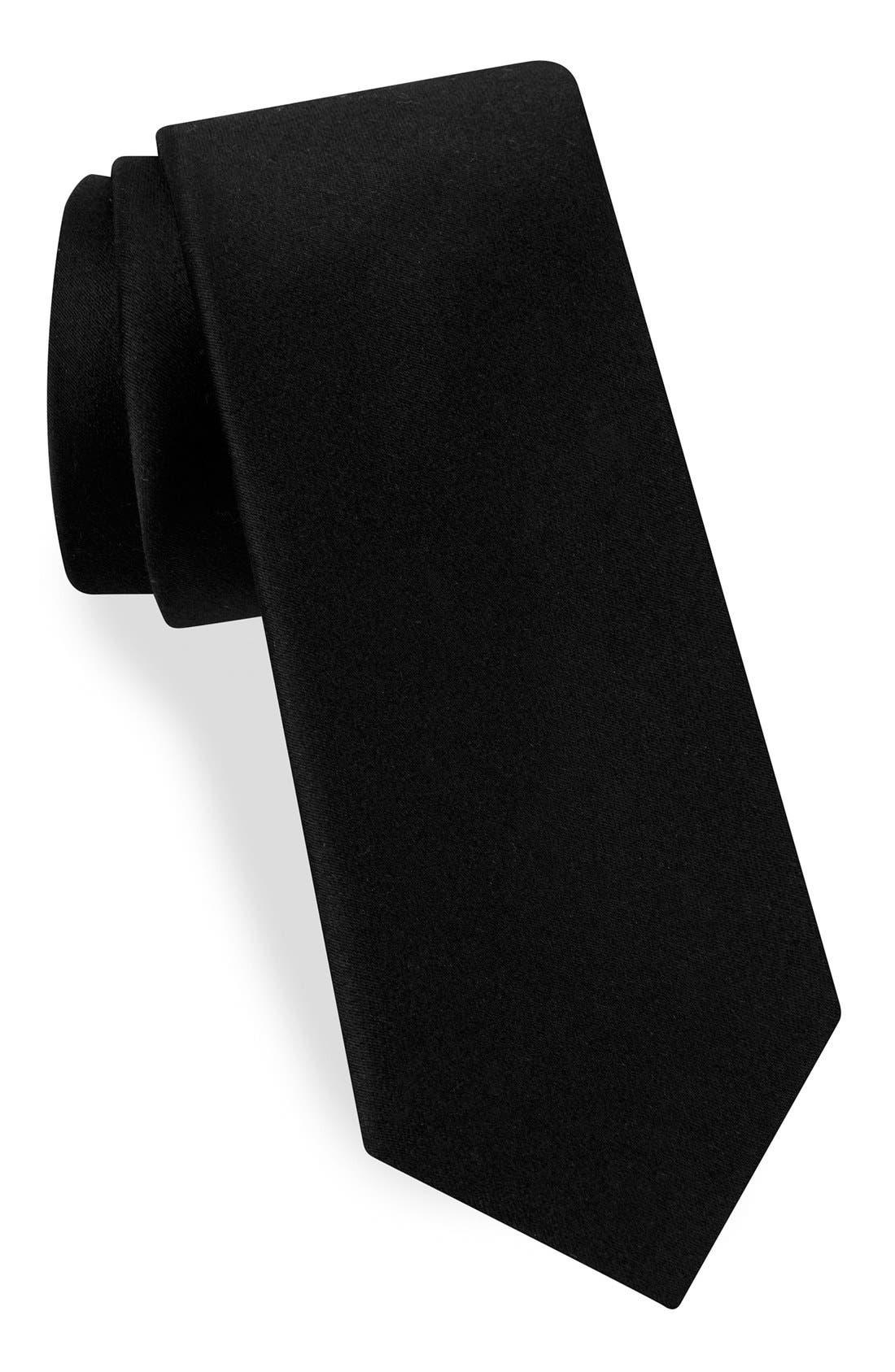 Narrow Woven Silk Tie,                         Main,                         color, BLACK