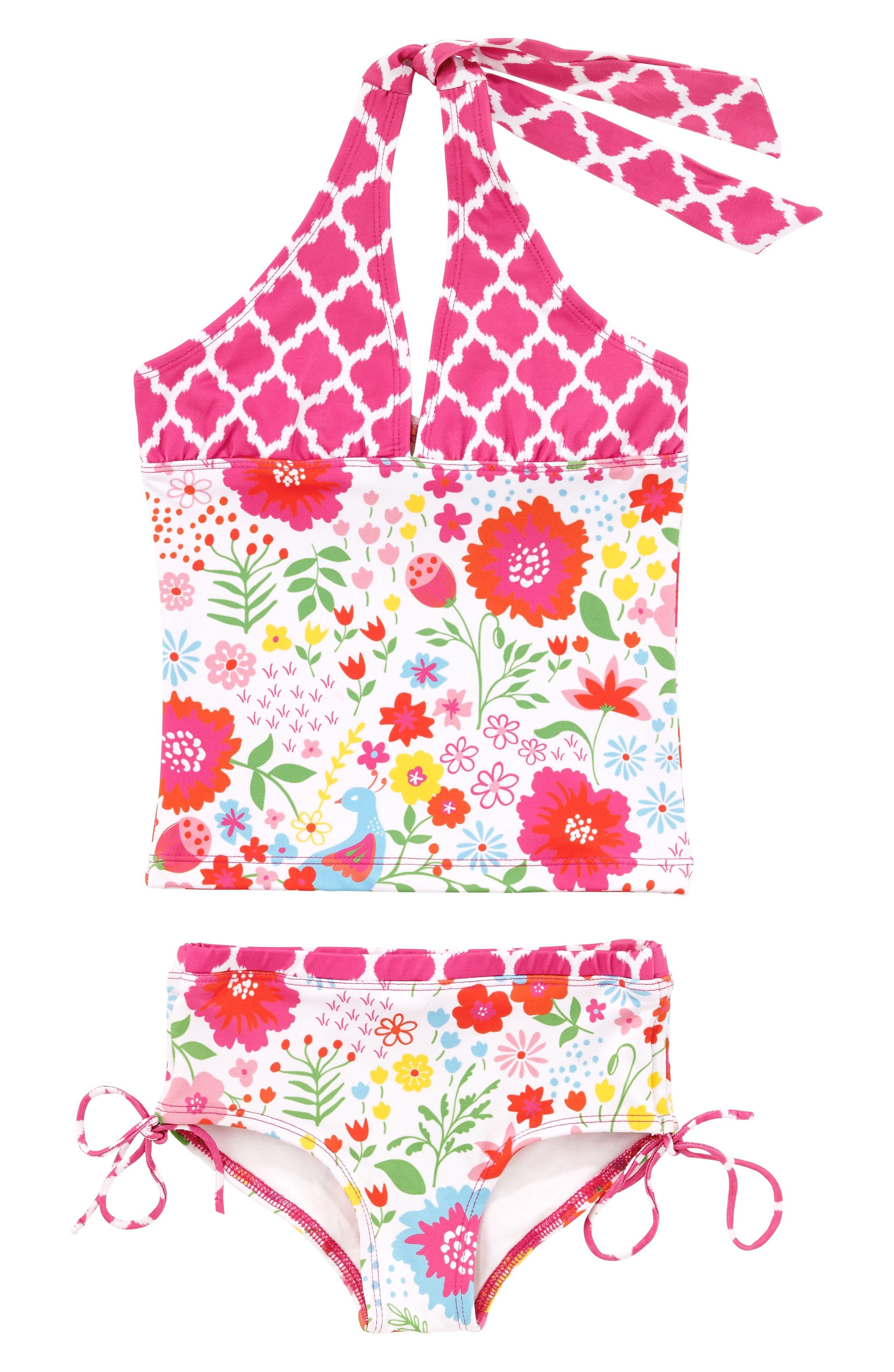 English Garden Two-Piece Tankini Swimsuit,                         Main,                         color, 100