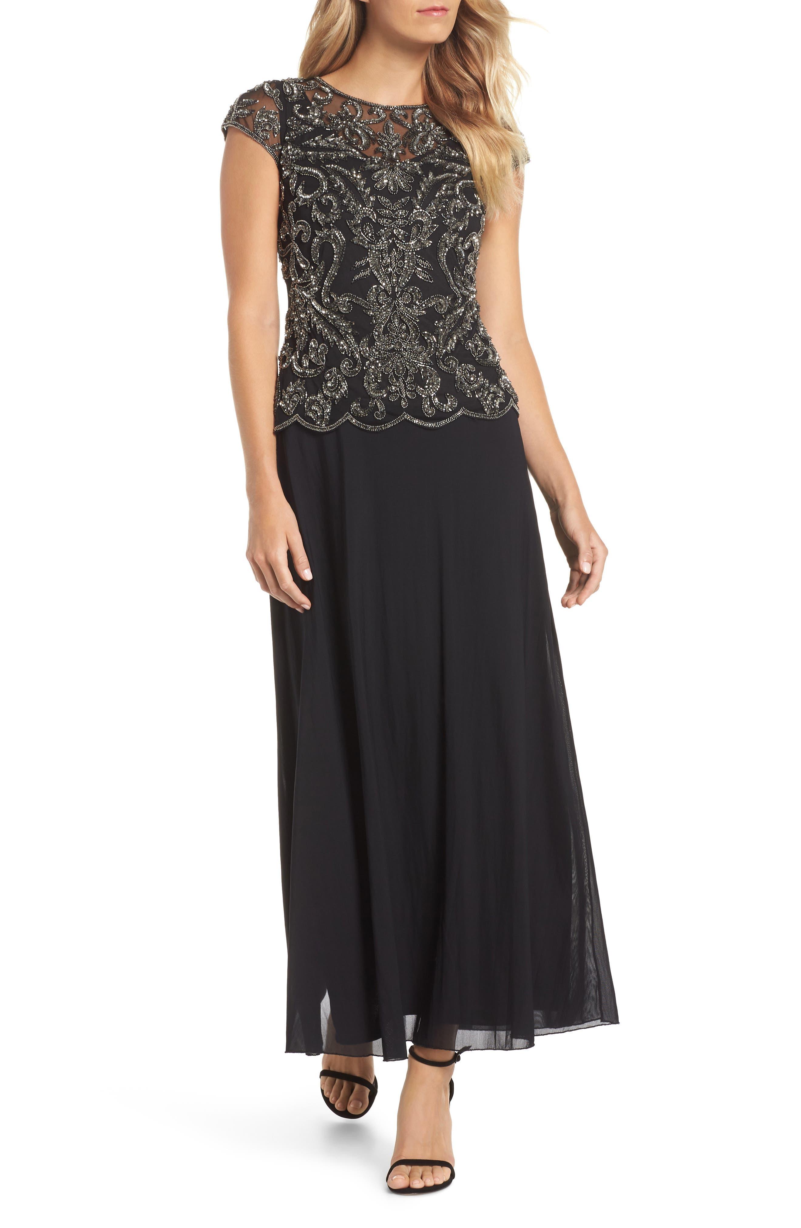 Pisarro Nights Beaded Mesh Mock Two-Piece Gown, Black