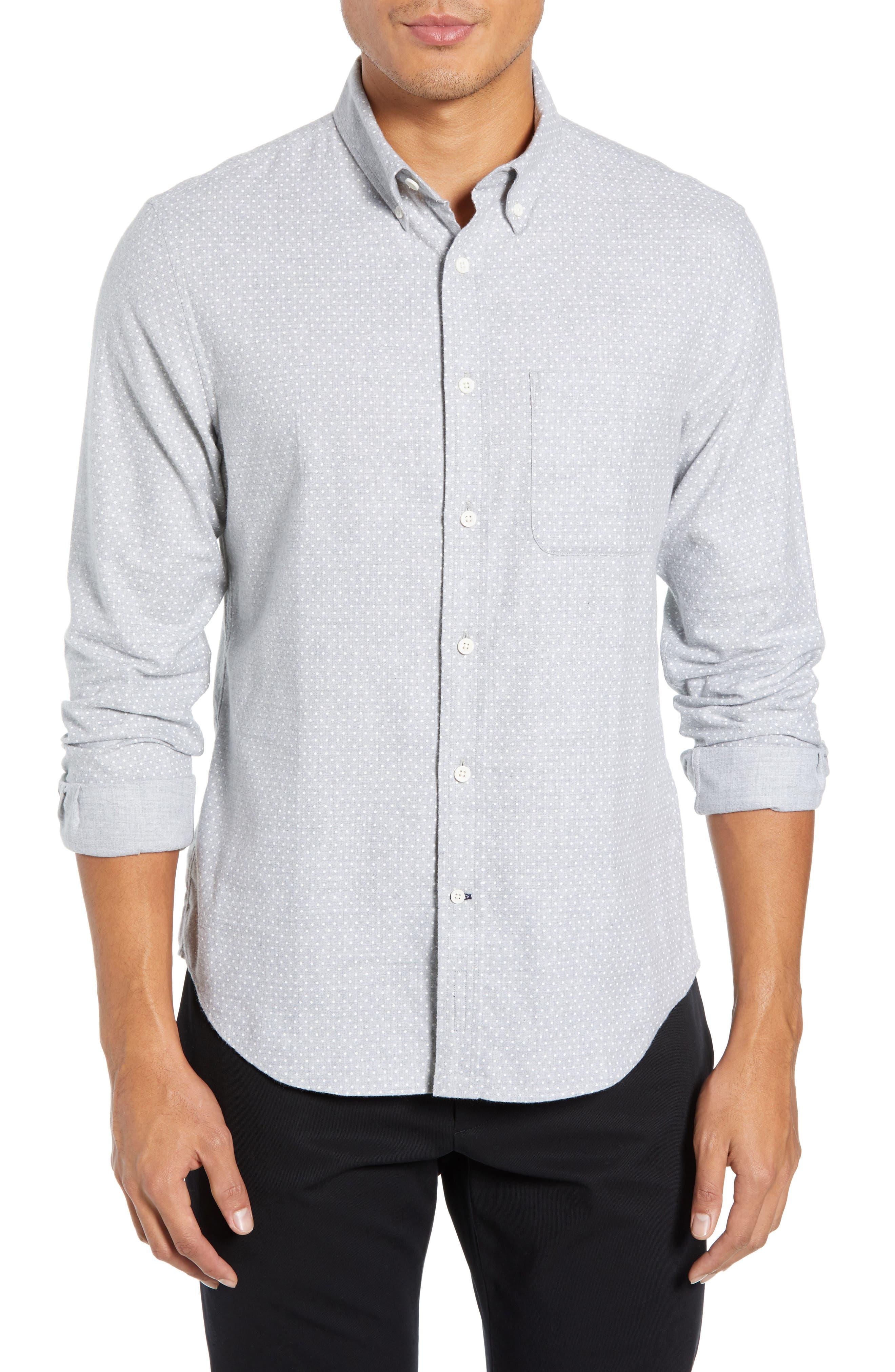 Polka Dot Cotton Flannel Sport Shirt, Main, color, 030