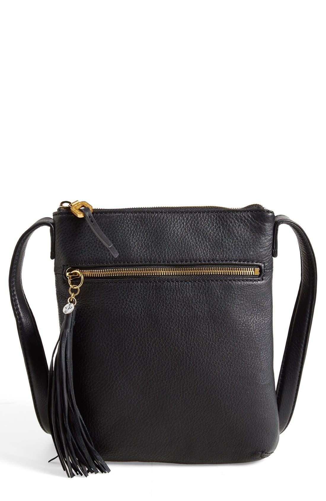 'Sarah' Leather Crossbody Bag,                             Main thumbnail 1, color,