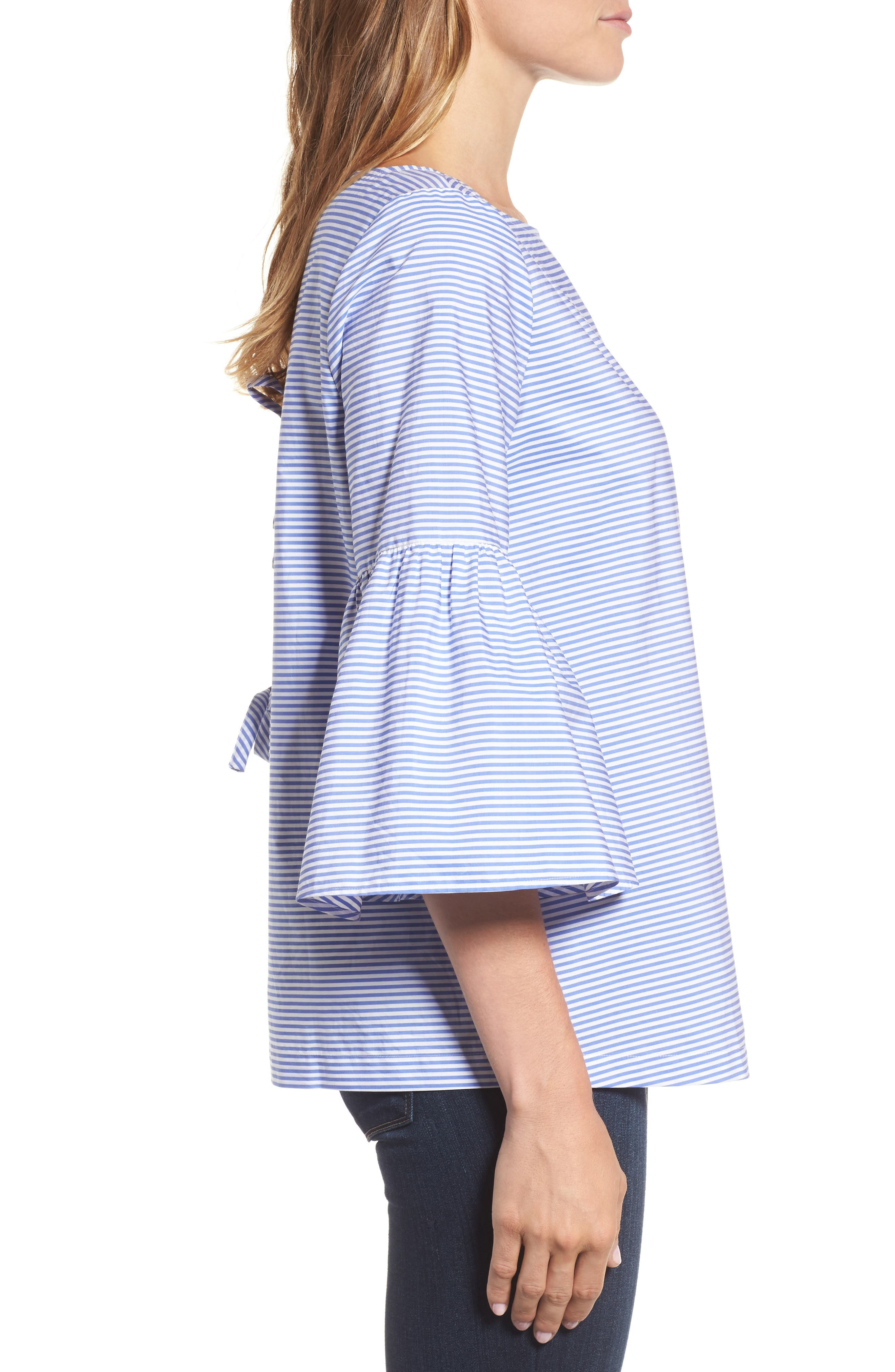 Bell Sleeve Bow Back Top,                             Alternate thumbnail 3, color,                             420