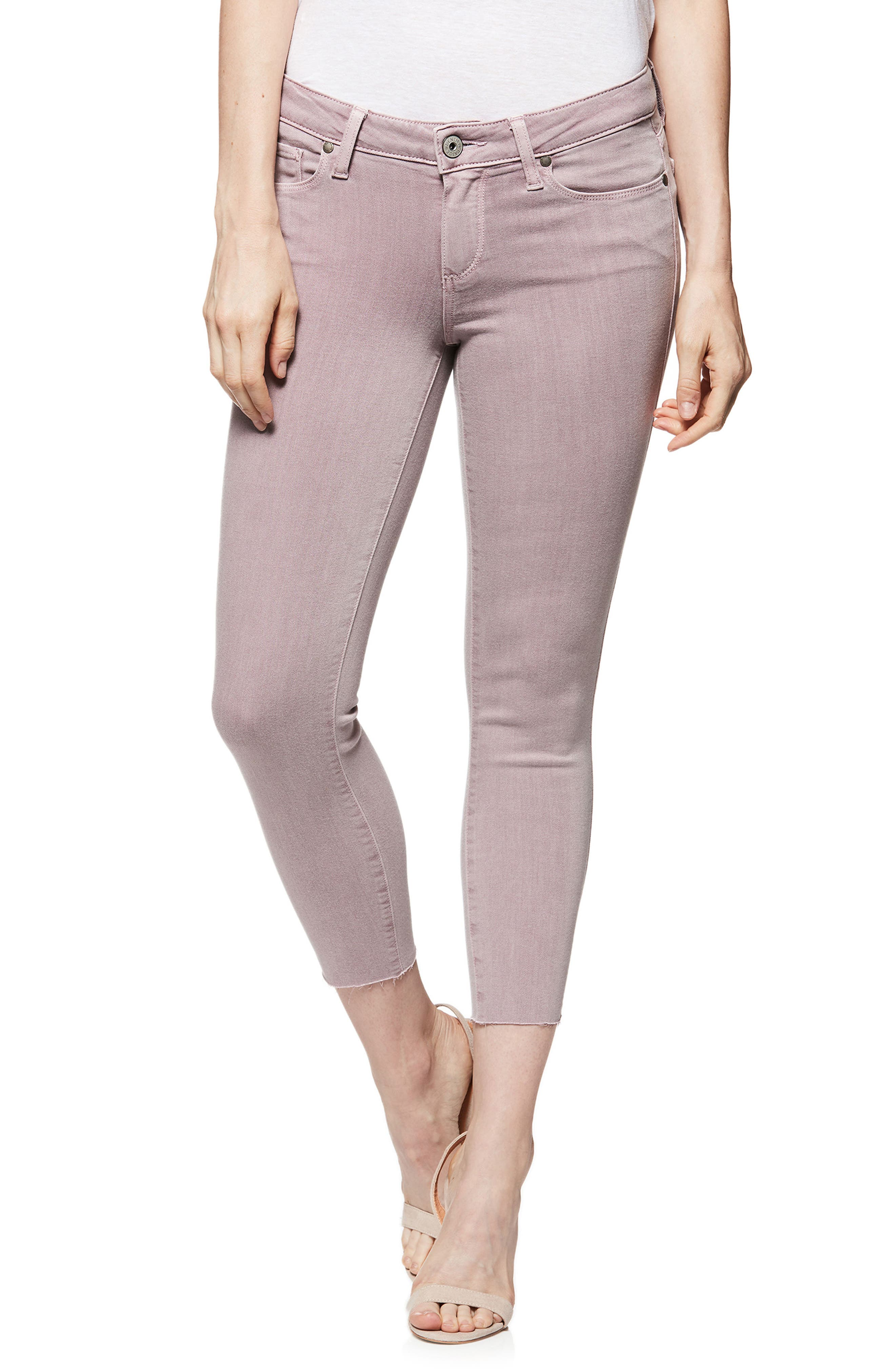 Transcend - Verdugo Raw Hem Crop Skinny Jeans,                         Main,                         color, VINTAGE LAVENDAR BLOOMS