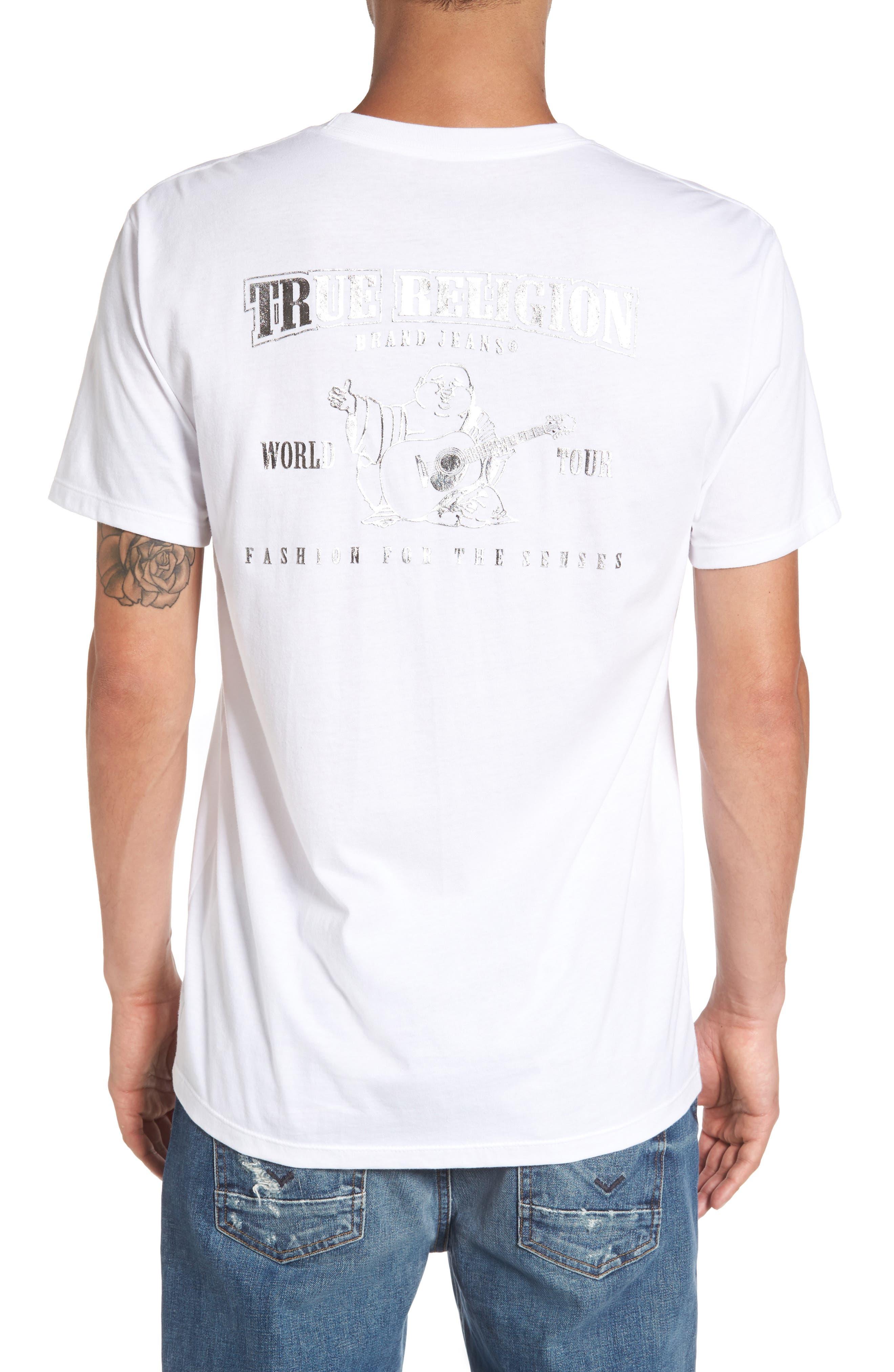 True Religion Silver Buddha T-Shirt,                             Alternate thumbnail 5, color,