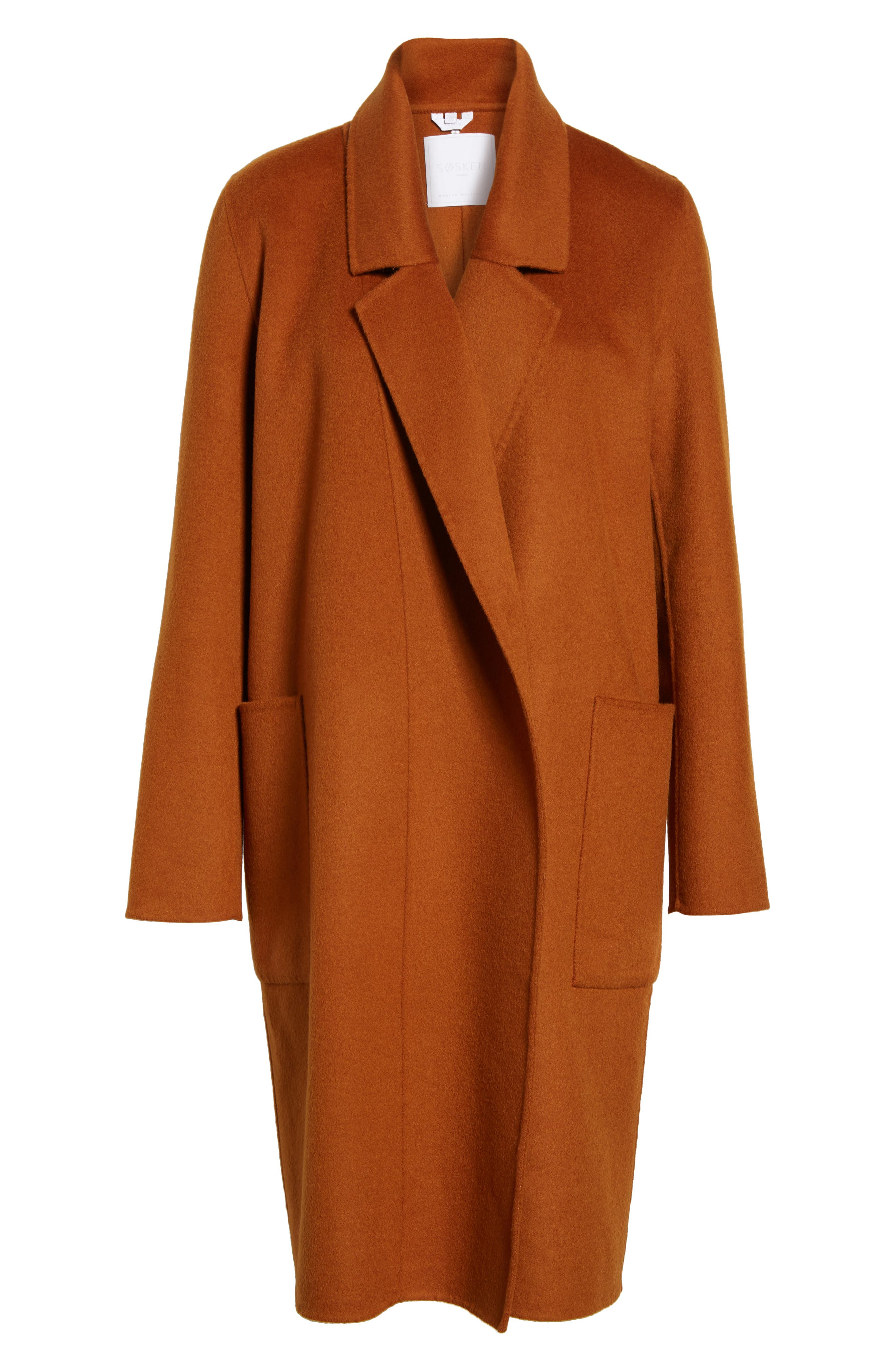 Ellie Notch Wool & Cashmere Duster Coat,                             Alternate thumbnail 5, color,                             200