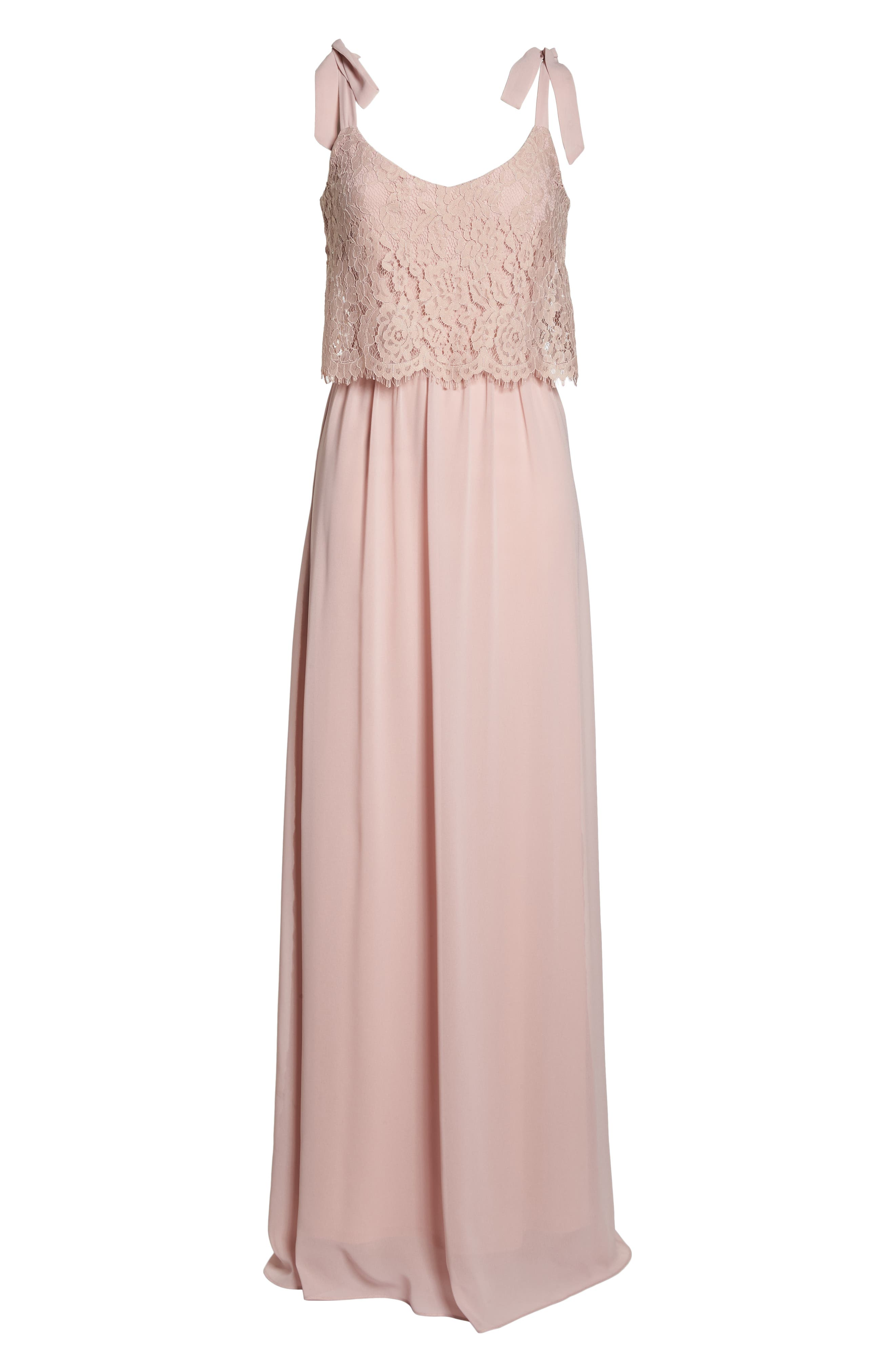Koko Tie Shoulder Lace Bodice Gown,                             Alternate thumbnail 8, color,                             MAUVE
