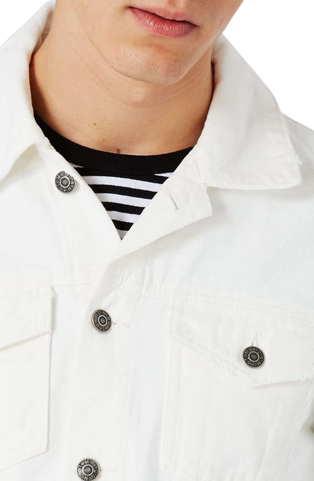 White Denim Western Jacket,                             Alternate thumbnail 3, color,                             100