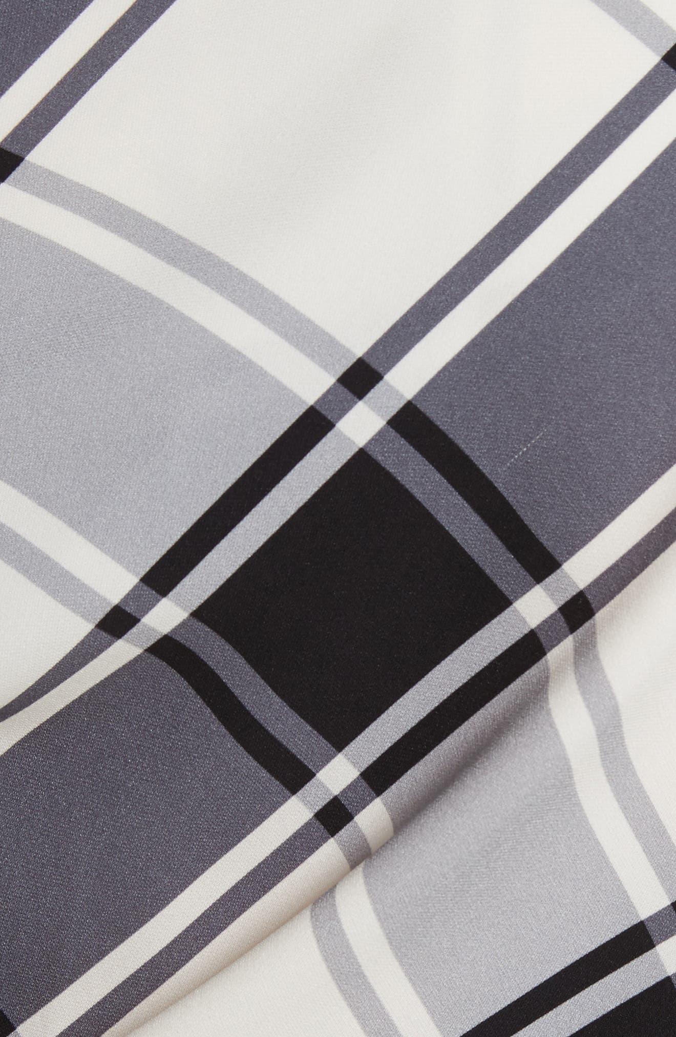 Plaid Stretch Silk One-Shoulder Top,                             Alternate thumbnail 5, color,                             011