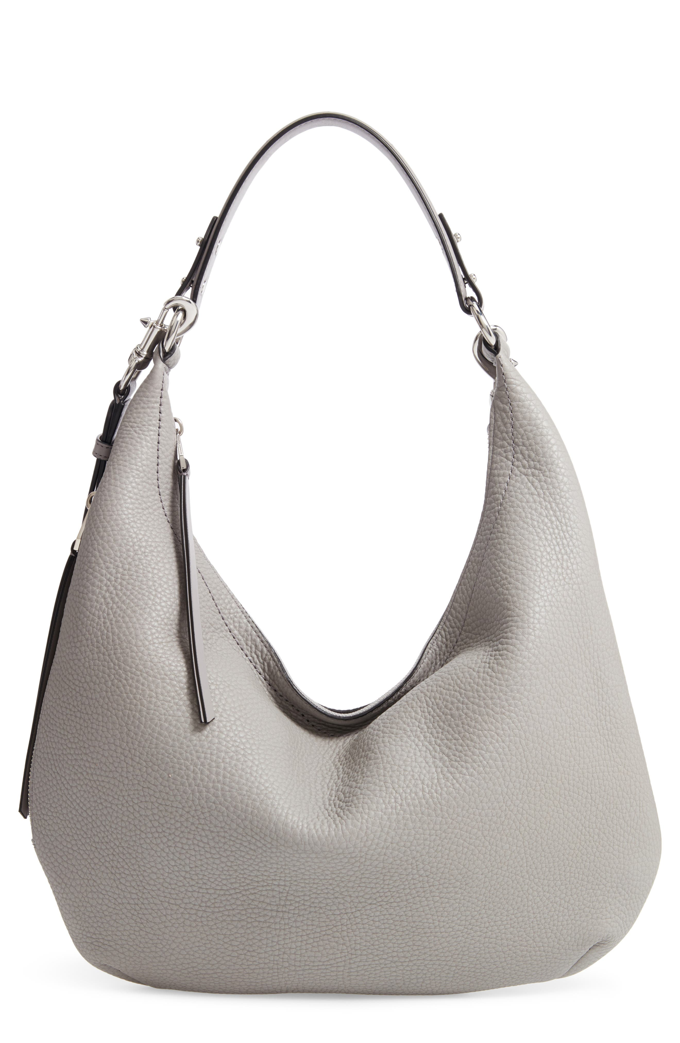 Michelle Leather Hobo,                             Main thumbnail 1, color,                             GREY