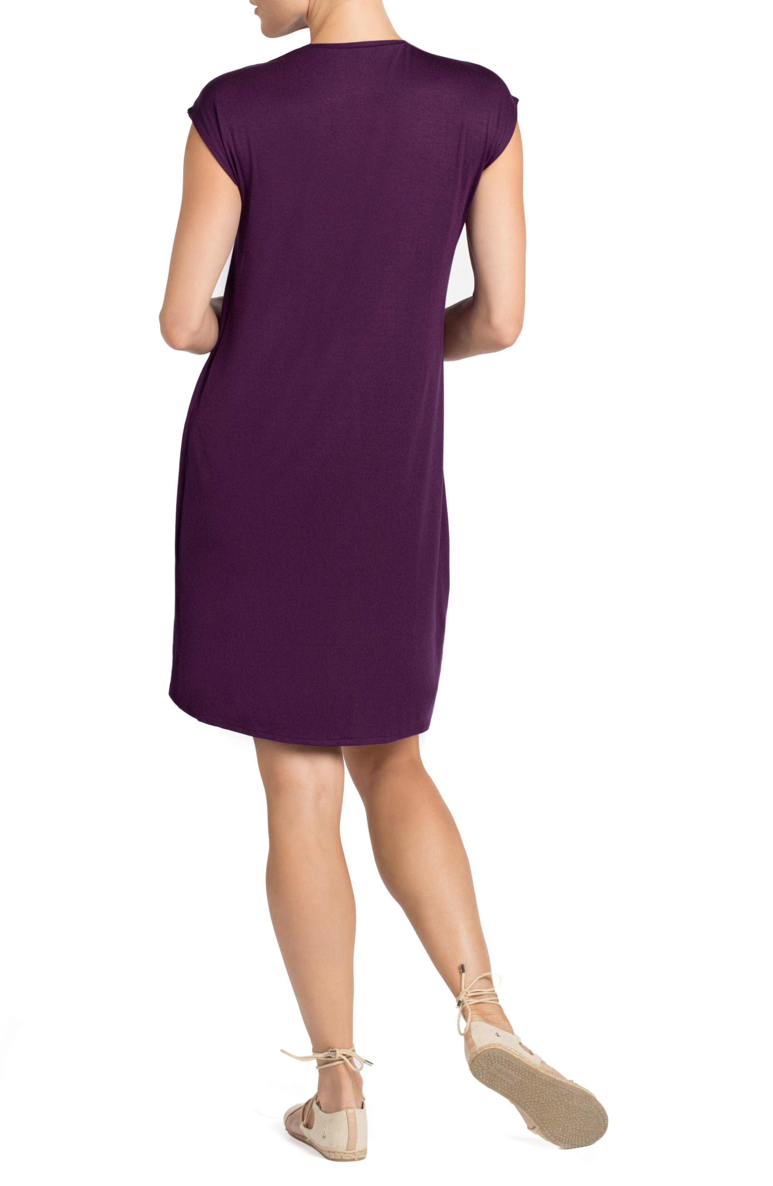 Lille Layered Maternity/Nursing Sheath Dress,                             Alternate thumbnail 2, color,                             EGGPLANT/ DARK MINT CONTRAST