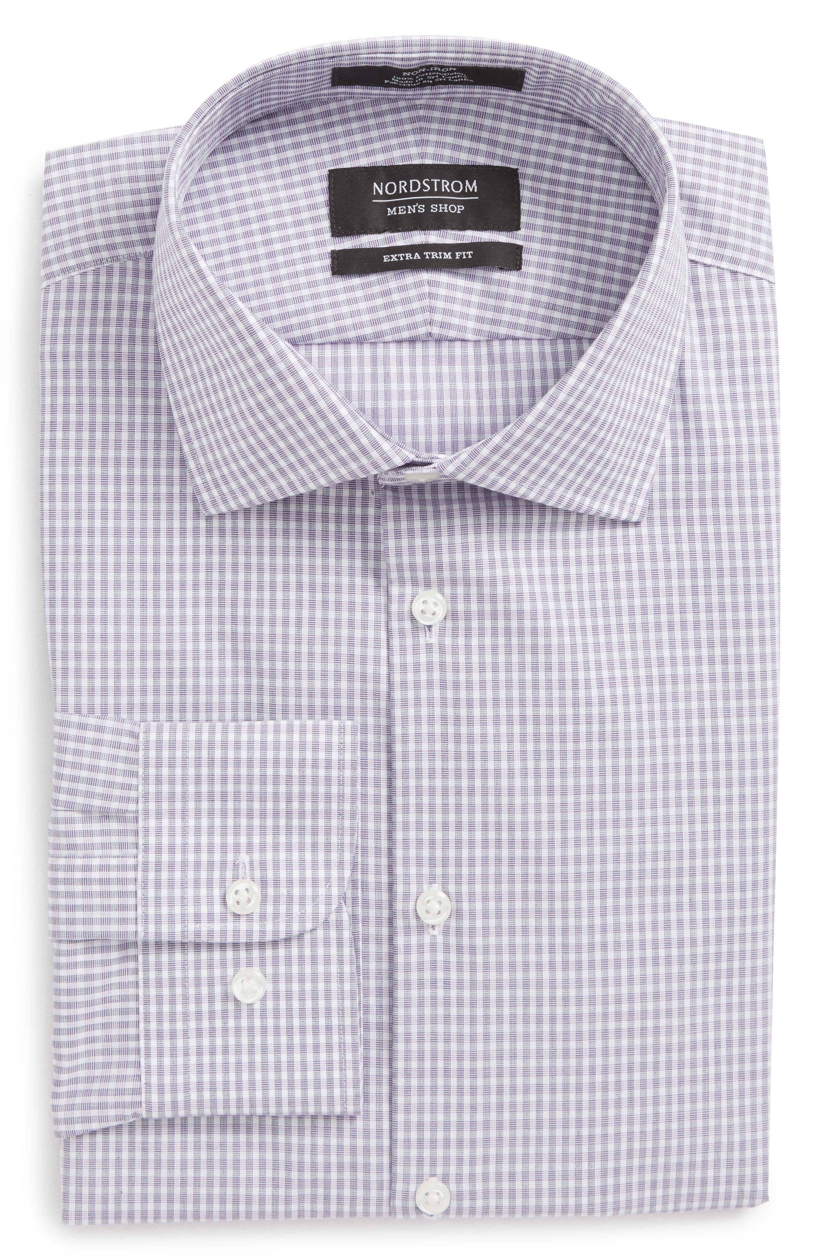 Extra Trim Fit Non-Iron Check Dress Shirt,                             Alternate thumbnail 14, color,
