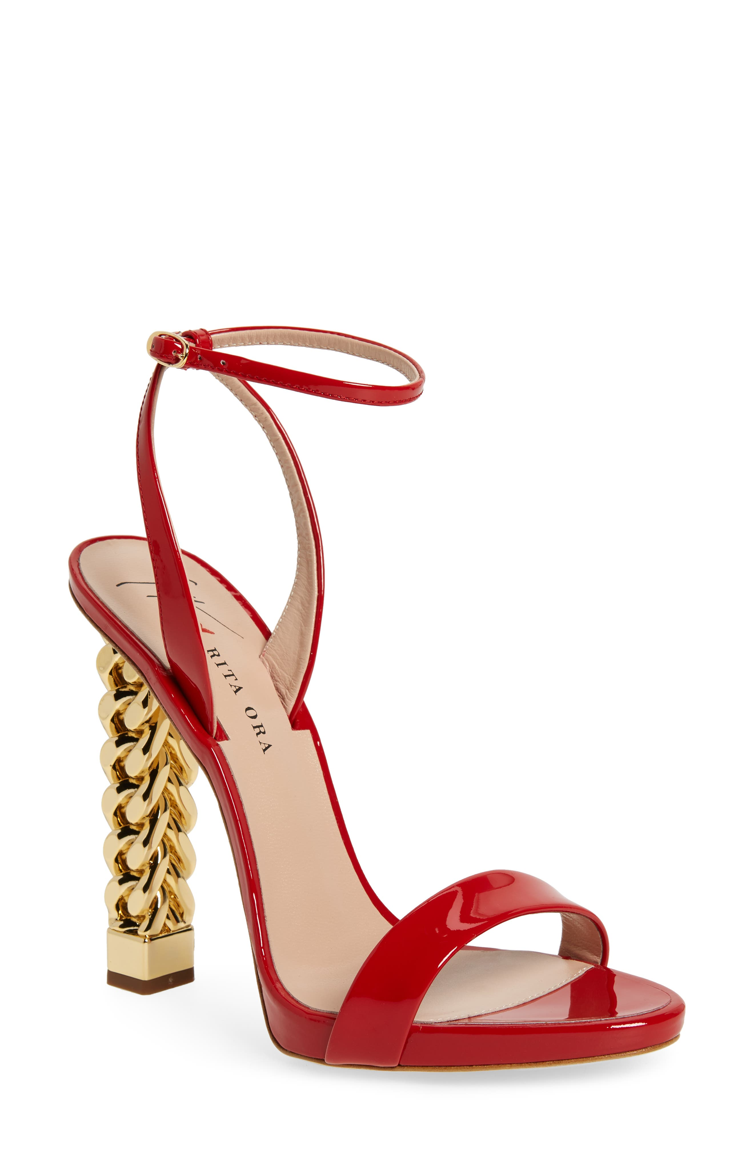 x Rita Ora Chain Heel Sandal,                             Main thumbnail 1, color,                             RED