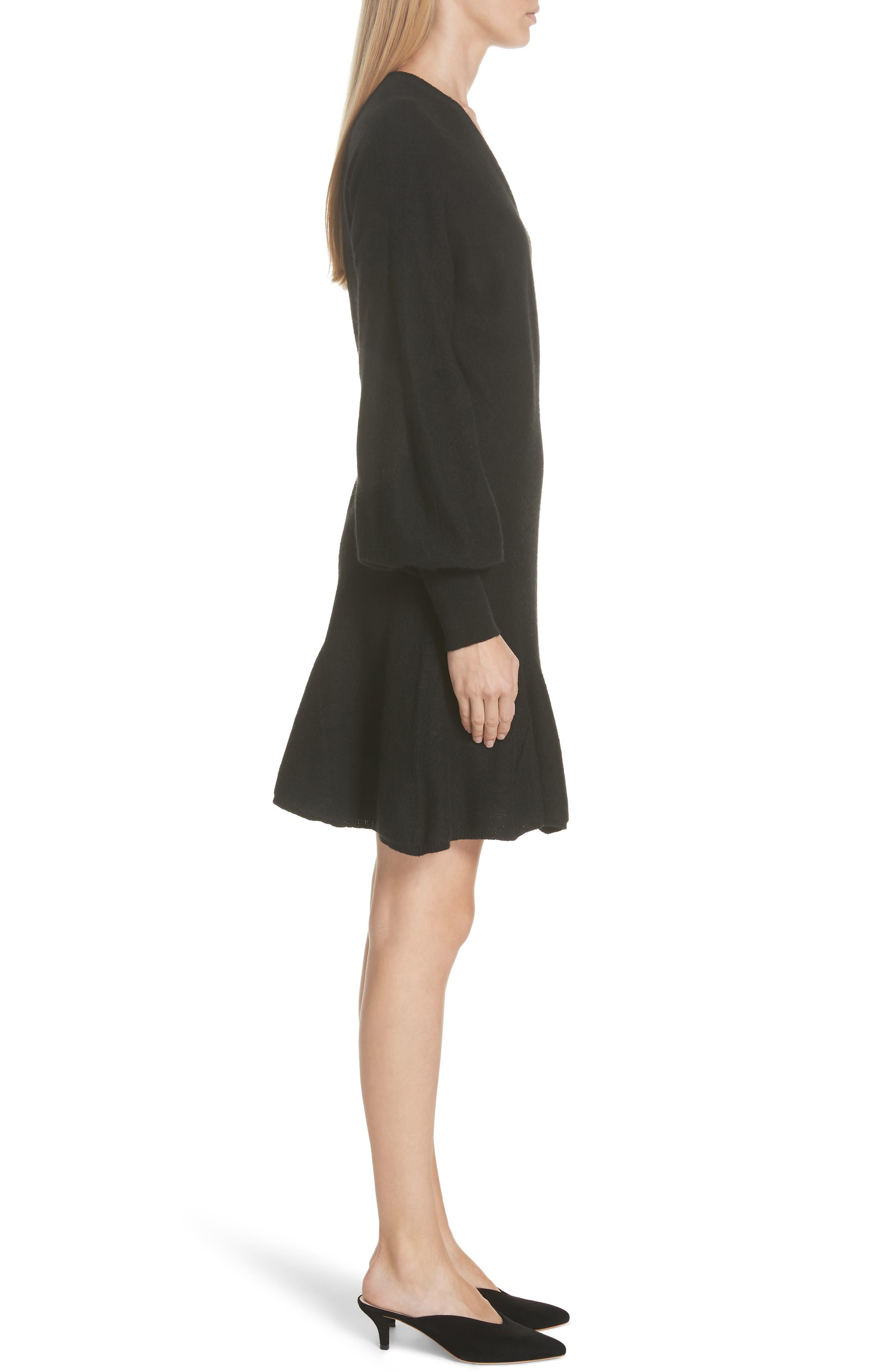 Sevilla Wool Felt Dress,                             Alternate thumbnail 3, color,                             BLACK