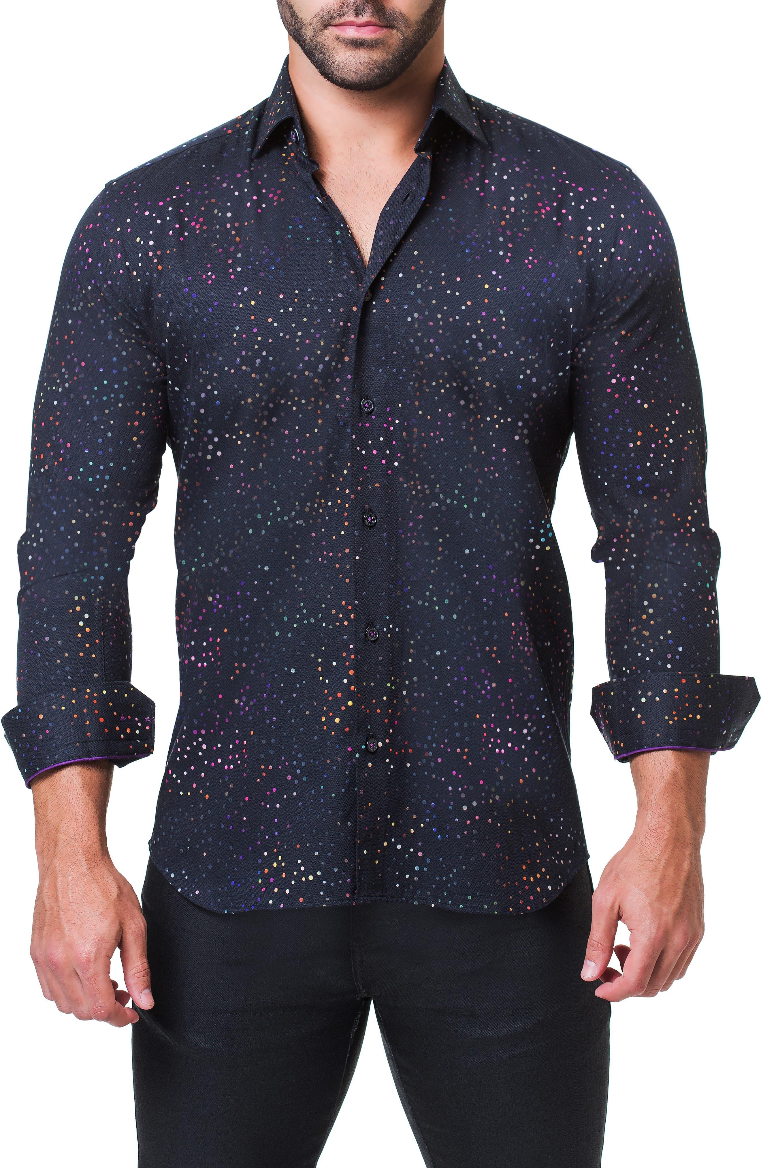 Fibonacci Celebration Trim Fit Sport Shirt,                             Alternate thumbnail 4, color,                             BLACK