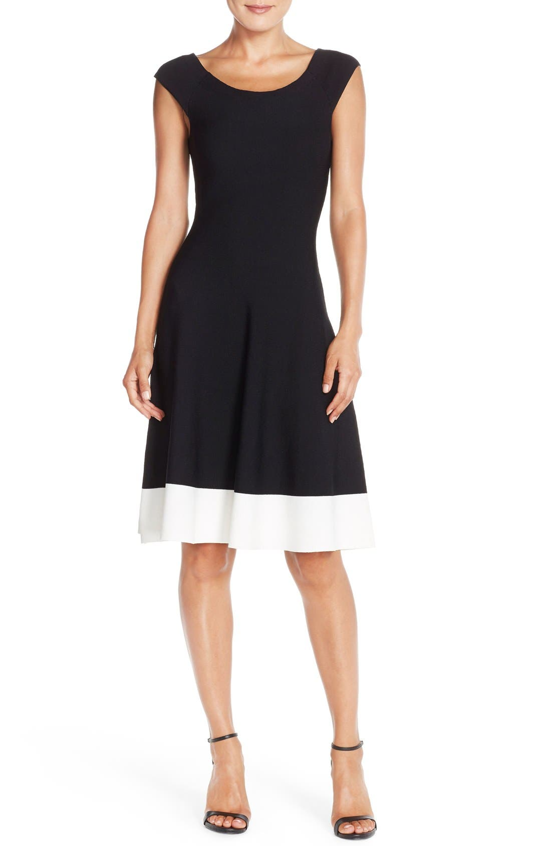Colorblock Fit & Flare Sweater Dress,                             Alternate thumbnail 6, color,                             011