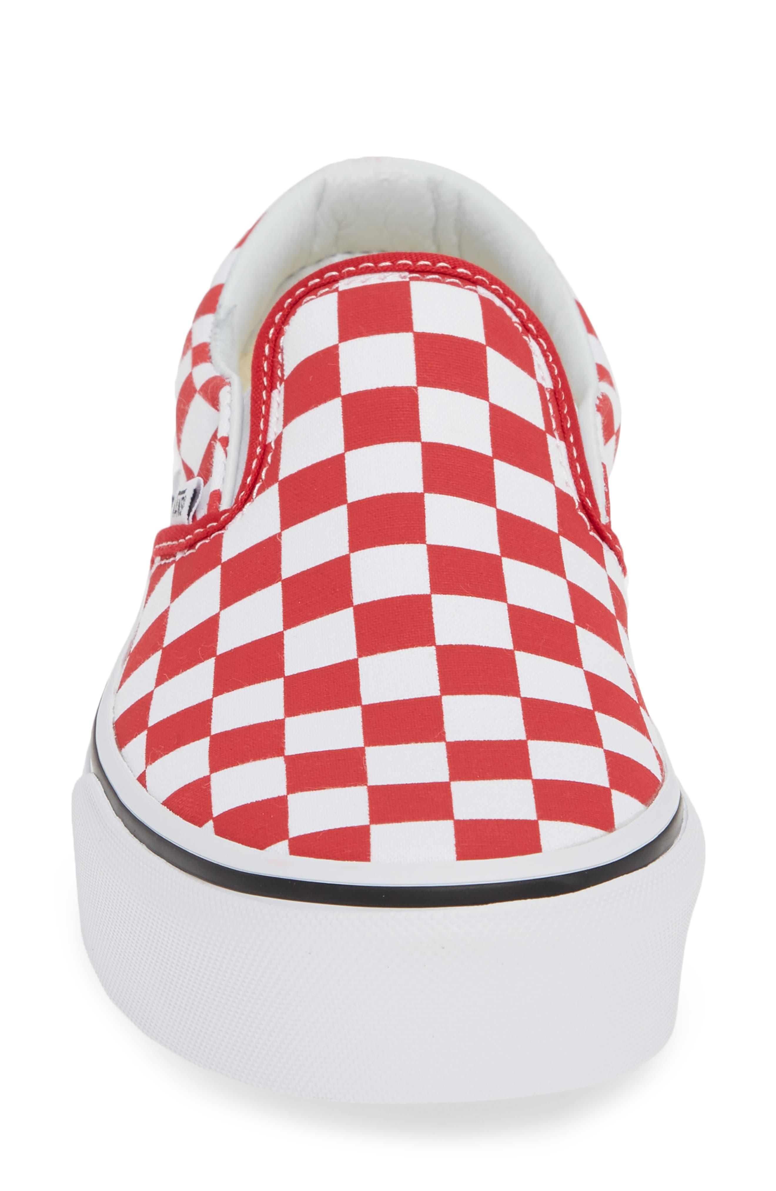 Platform Slip-On Sneaker,                             Alternate thumbnail 4, color,                             RACING RED/ TRUE WHITE