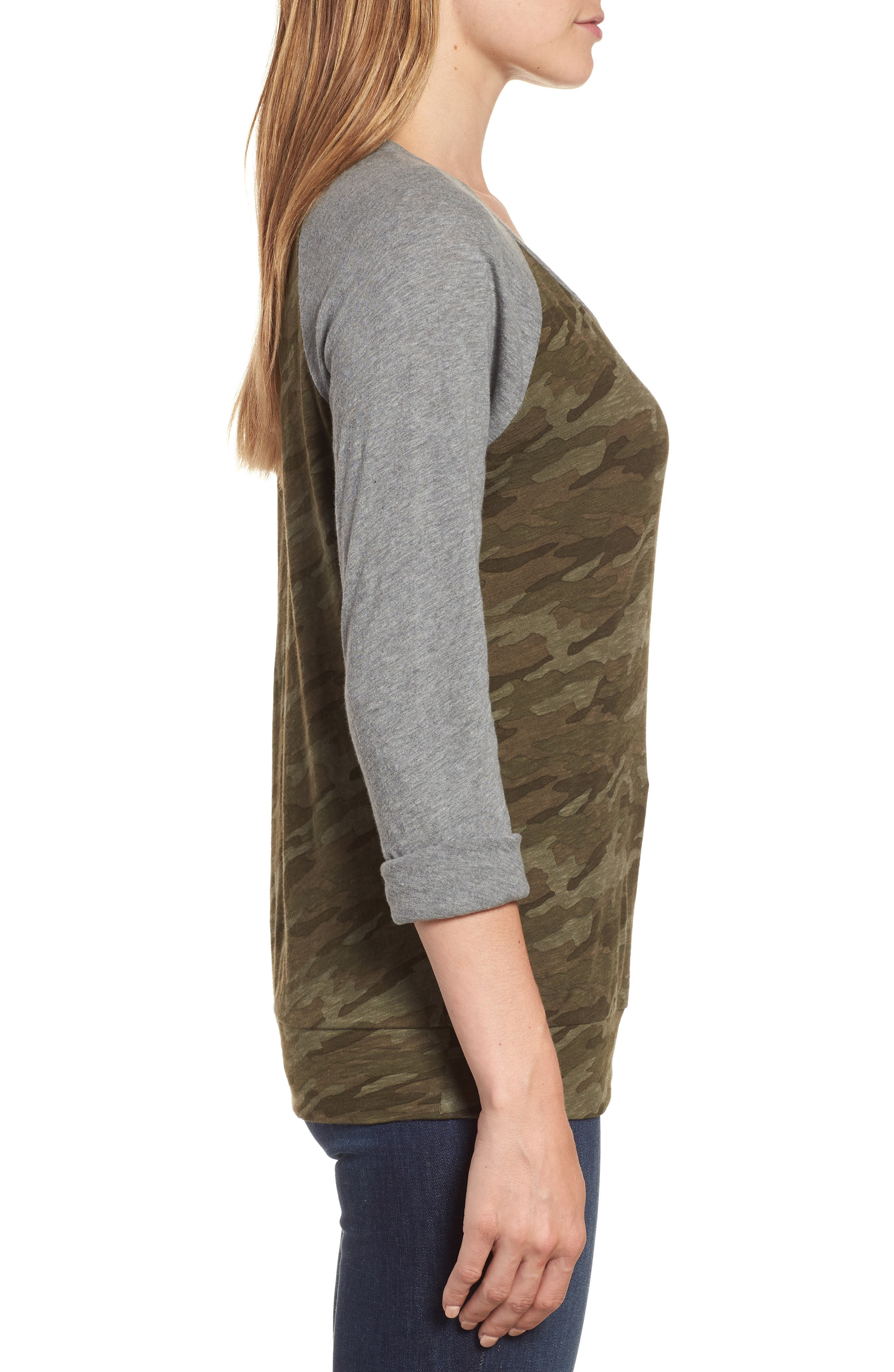 Lightweight Colorblock Cotton Tee,                             Alternate thumbnail 3, color,                             OLIVE CAMO - GREY