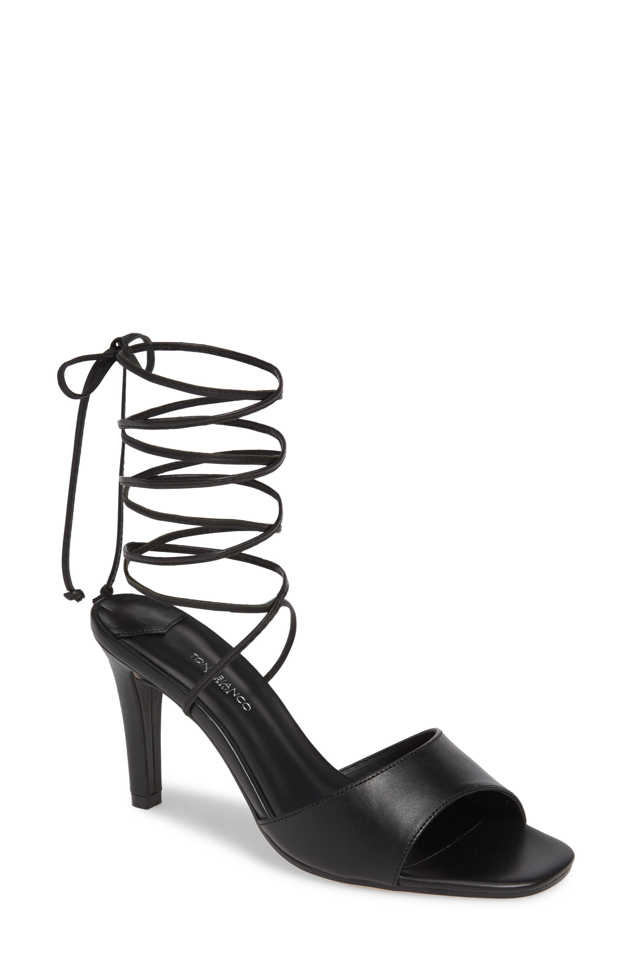 Ruffian Wraparound Sandal,                             Main thumbnail 1, color,                             BLACK COMO
