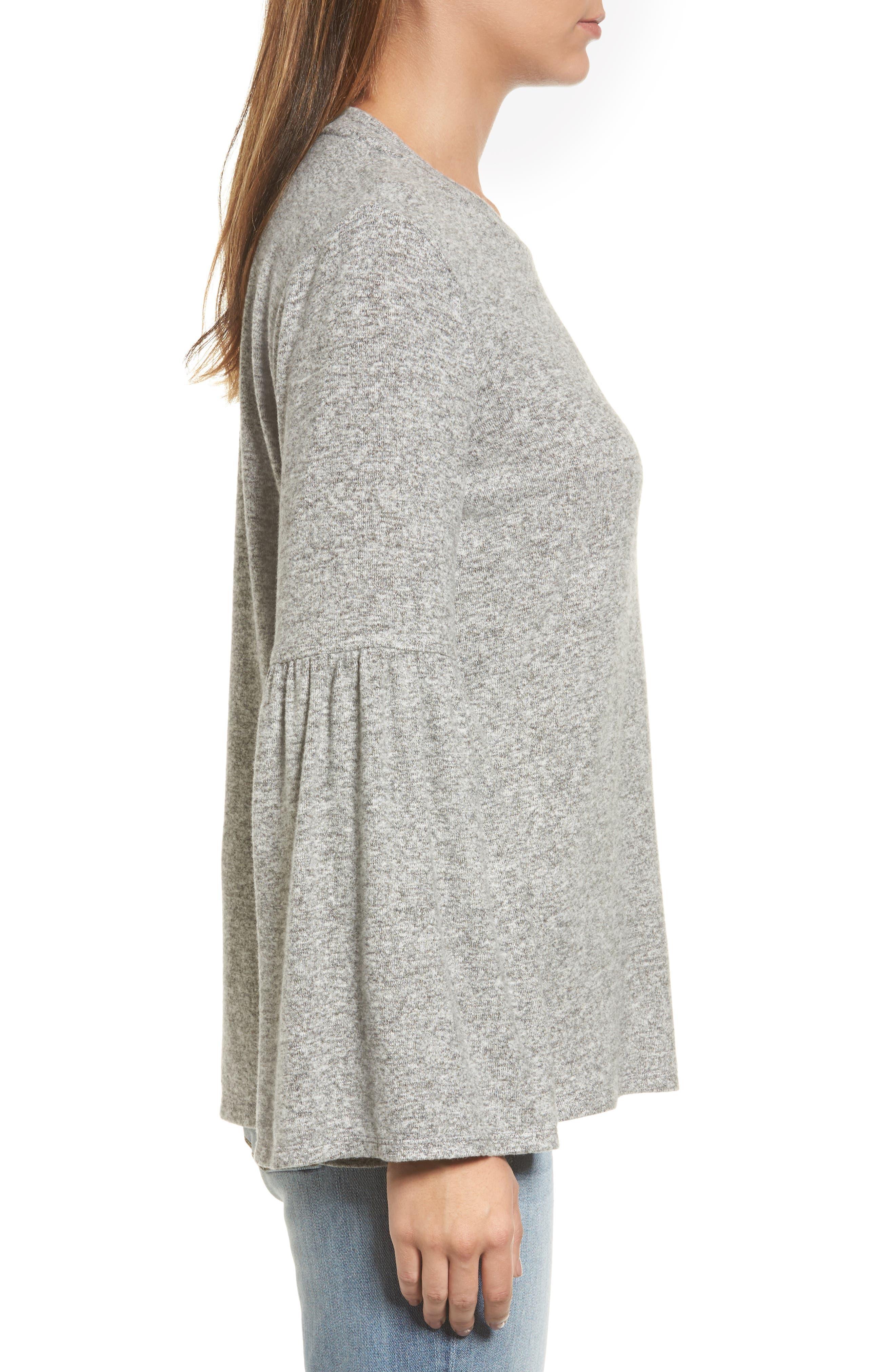 Bell Sleeve Cozy Fleece Pullover,                             Alternate thumbnail 31, color,