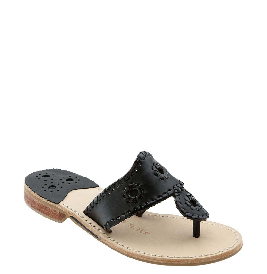 JACK ROGERS Palm Beach Whipstitch Thong Sandal in Black Black Patent