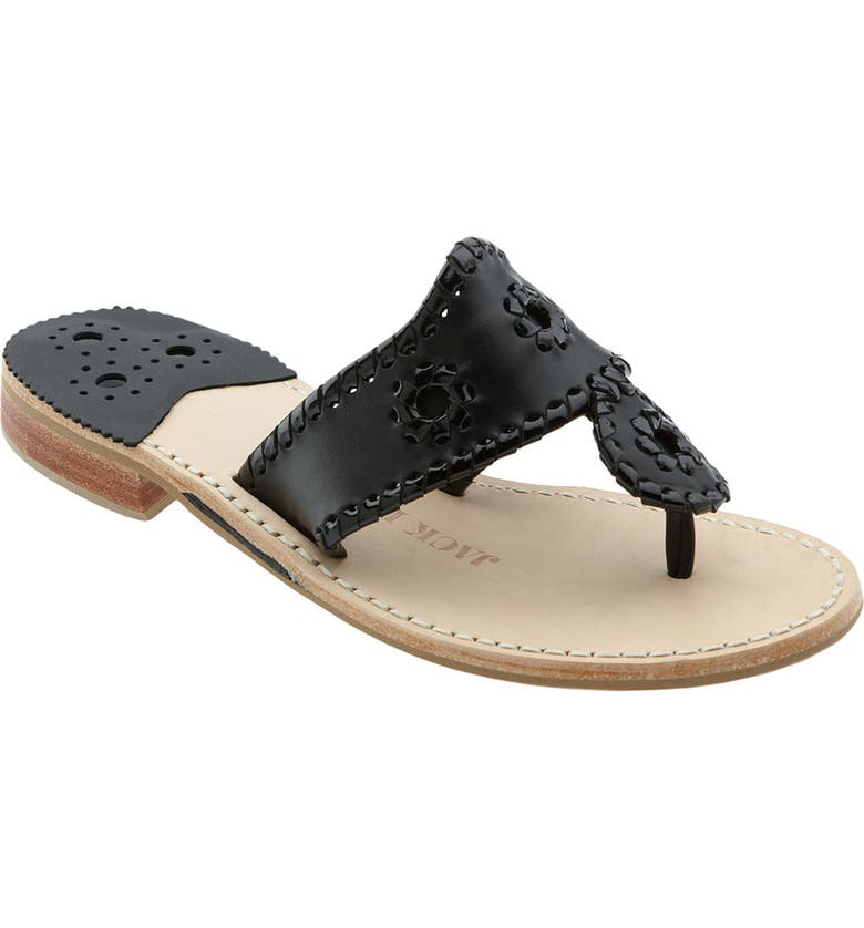 b861afeb0 Jack Rogers Palm Beach Whipstitch Thong Sandal In Black Black Patent ...