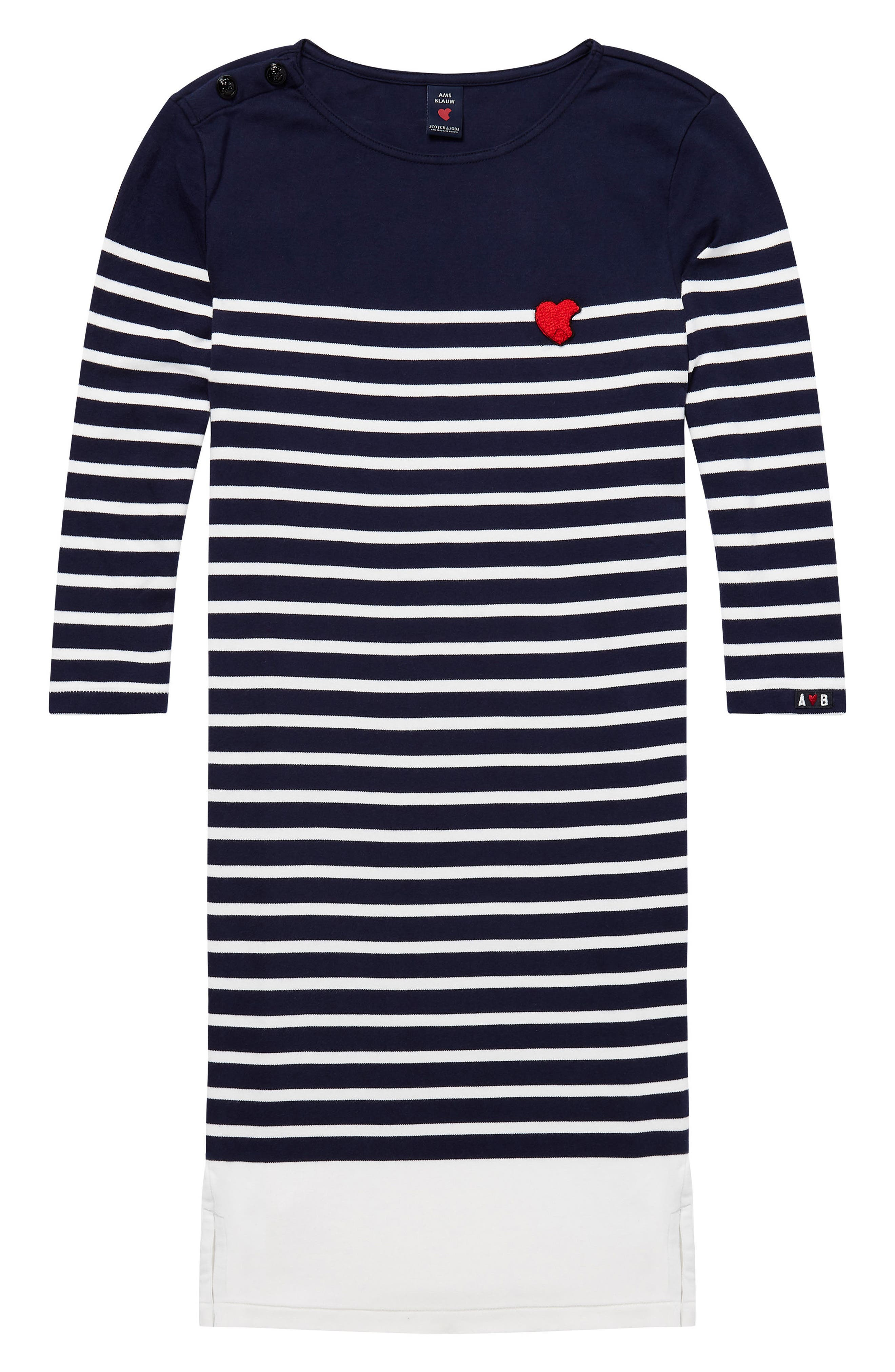 Heart Patch Breton Stripe Dress,                             Alternate thumbnail 4, color,                             401