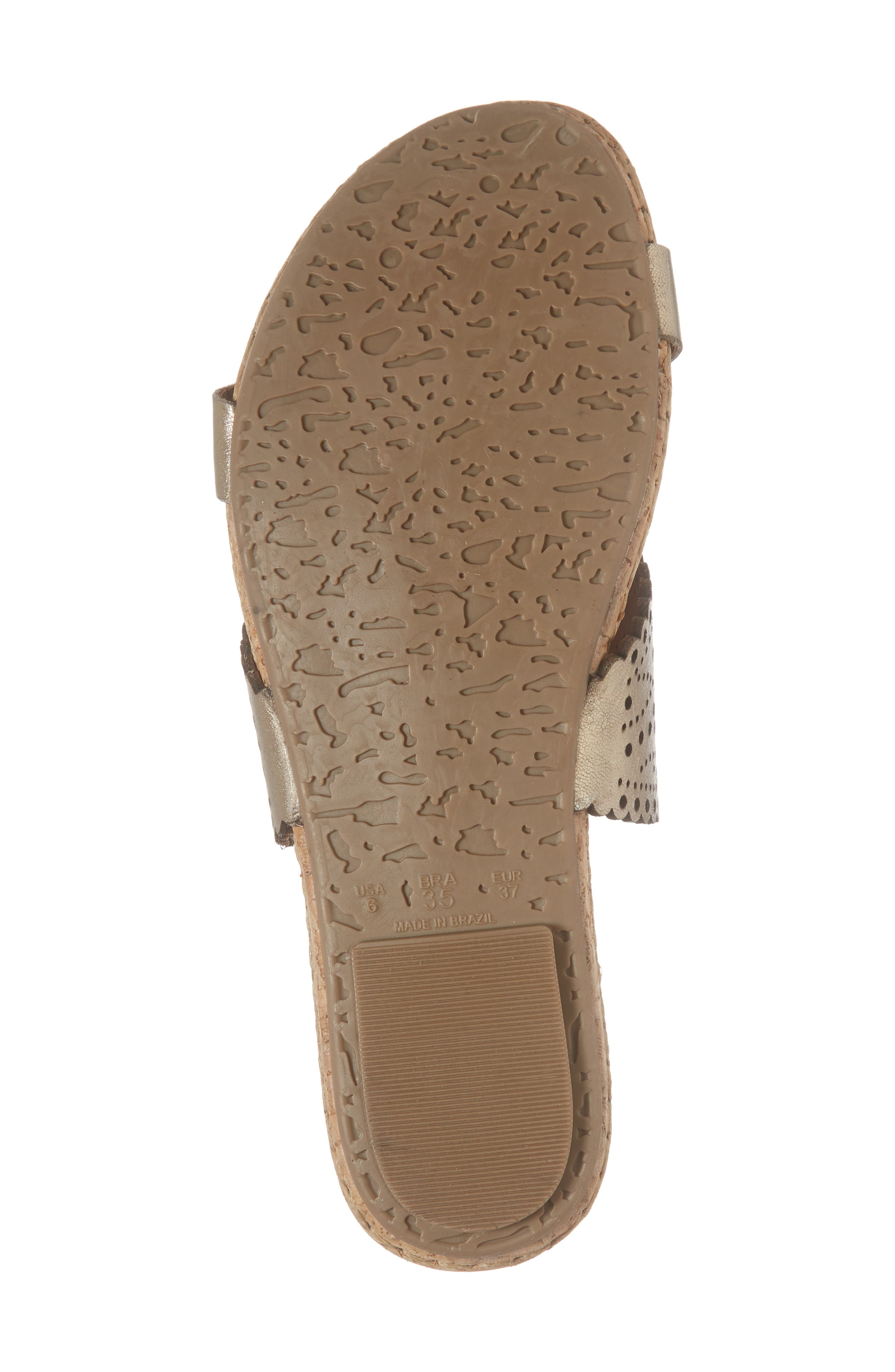 Ginette Perforated Slide Sandal,                             Alternate thumbnail 6, color,                             PEWTER LEATHER